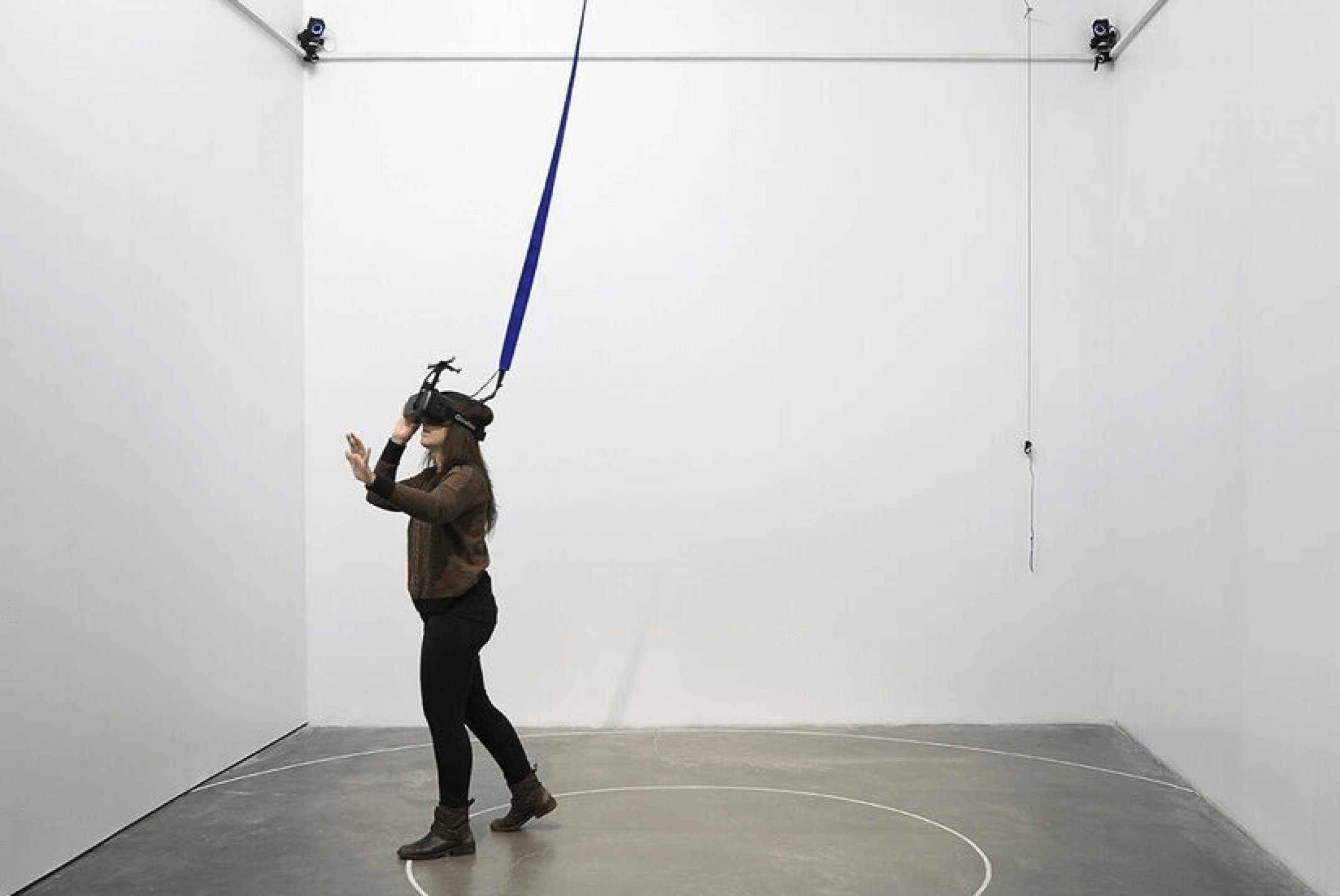 Daniel Steegmann Mangrané,<em>Phantom (kingdom of all the animals and all the beasts is my name)</em>,2014/2015,Oculus Rift virtual reality headset, Unity 3D forest scan, motion capture technology, custom ceiling grid,variable dimensions<br> - Mendes Wood DM