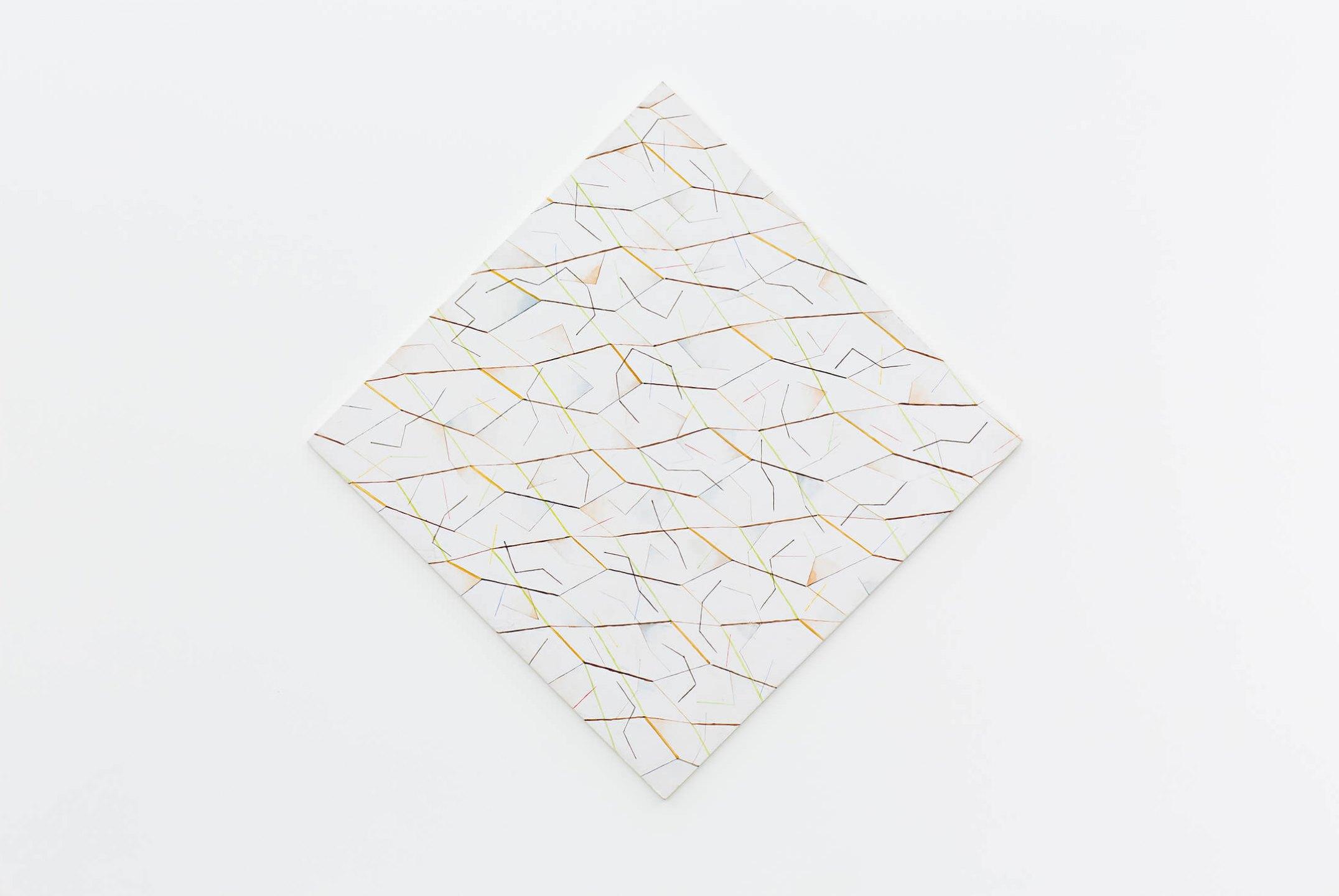 Daniel Steegmann Mangrané,<em> Morfogênesis/Crípsis</em>,2013,oil and watercolor on MDF, 62 × 62 cm<br> - Mendes Wood DM