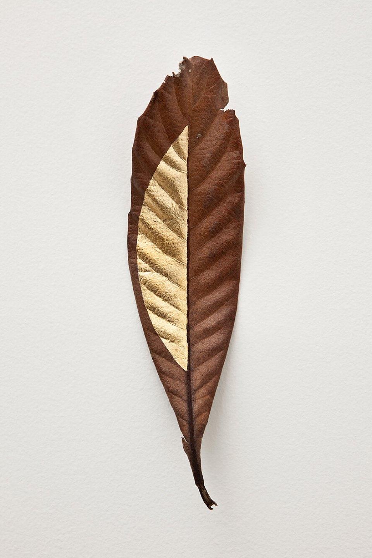 Daniel Steegmann Mangrané,<em>Masks</em>,2012, c<em>aboatã-de-leite</em> tree leaves and gold leaf, 24 × 6 cm - Mendes Wood DM