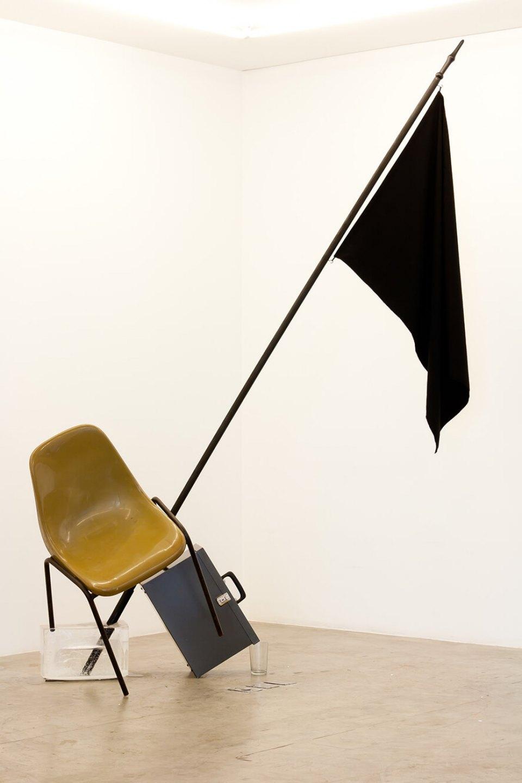 Deyson Gilbert,<em>Economy of trance</em>,2011,chair, flag, document box, ice, variable dimensions - Mendes Wood DM