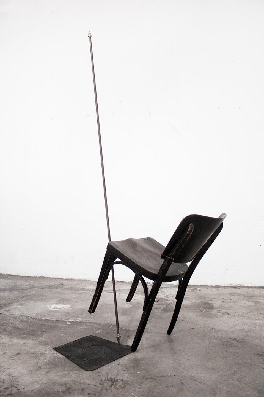 Deyson Gilbert, <em>3 states (study for Ethanol and Baphomet</em>),2011,wooden chair, metal spear, rubber mat,180 × 60 × 70 cm - Mendes Wood DM