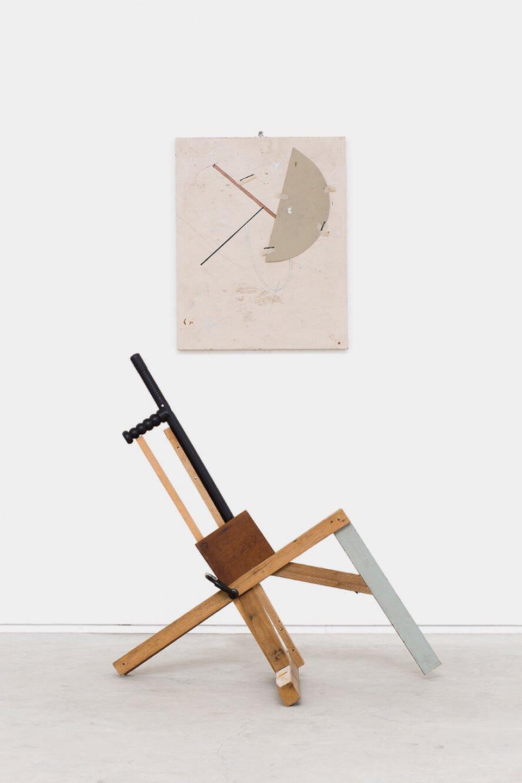 Deyson Gilbert,<em>untitled (from Questão de Ordem ou Estudos Sobre a Síndrome de Gerstmann series)</em>, 2015/2016, tonfa, wood, metal, paper, oil, acrylic and letraset, 169 × 93 × 76 cm - Mendes Wood DM