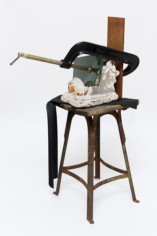 Deyson Gilbert, <em>untitled</em>, 2014, wood, plaster, plastic, metal and c-clamp, 37 × 61 × 32 cm - Mendes Wood DM