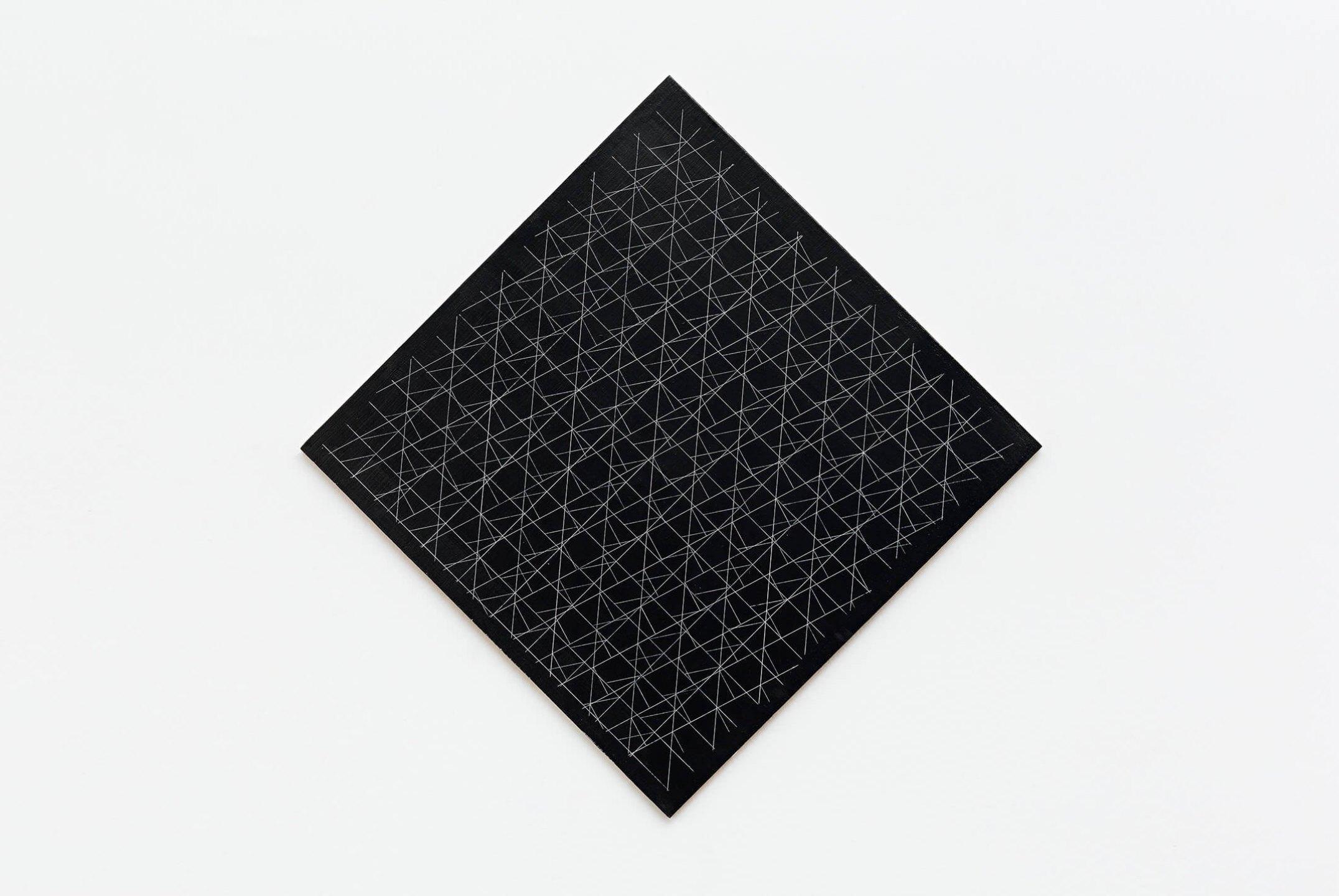 Daniel Steegmann Mangrané, <em>Grade Sistêmica V,</em> 2014,plaster and problack on board,56×56 cm - Mendes Wood DM