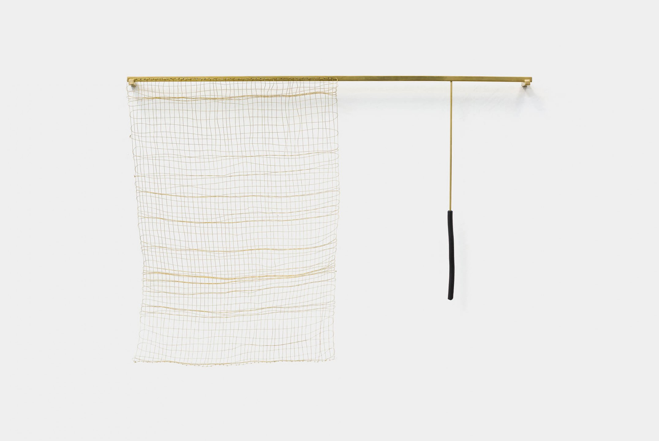 Paloma Bosquê, <em>Possible composition</em>, 2016, charcoal, fabric and brass rods, 34 × 47,5 × 3 cm - Mendes Wood DM