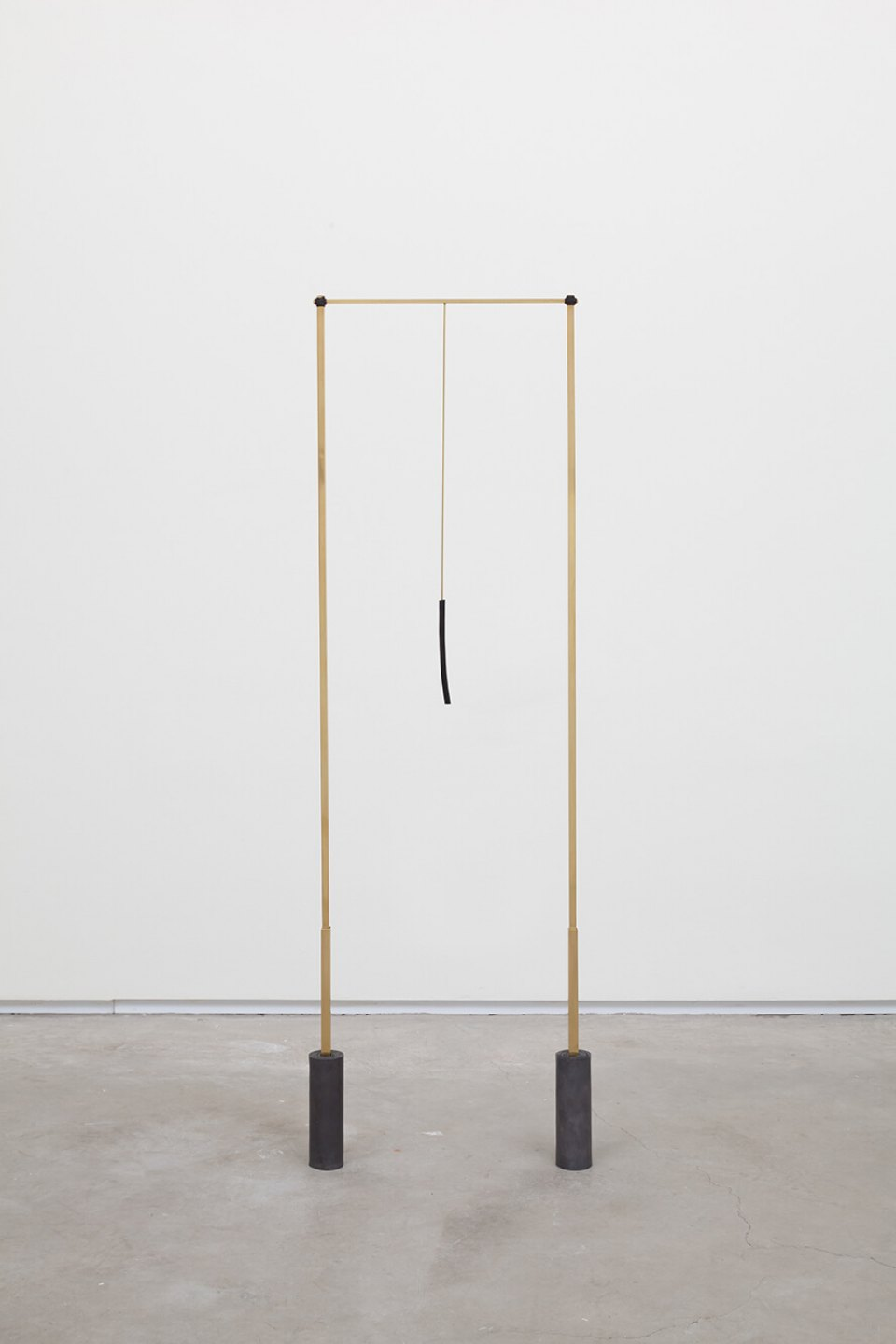 Paloma Bosquê, <em>Posts</em>, 2016, lead sheet, brass rods and mineral coal, 115,5 × 35 × 4,5 cm - Mendes Wood DM