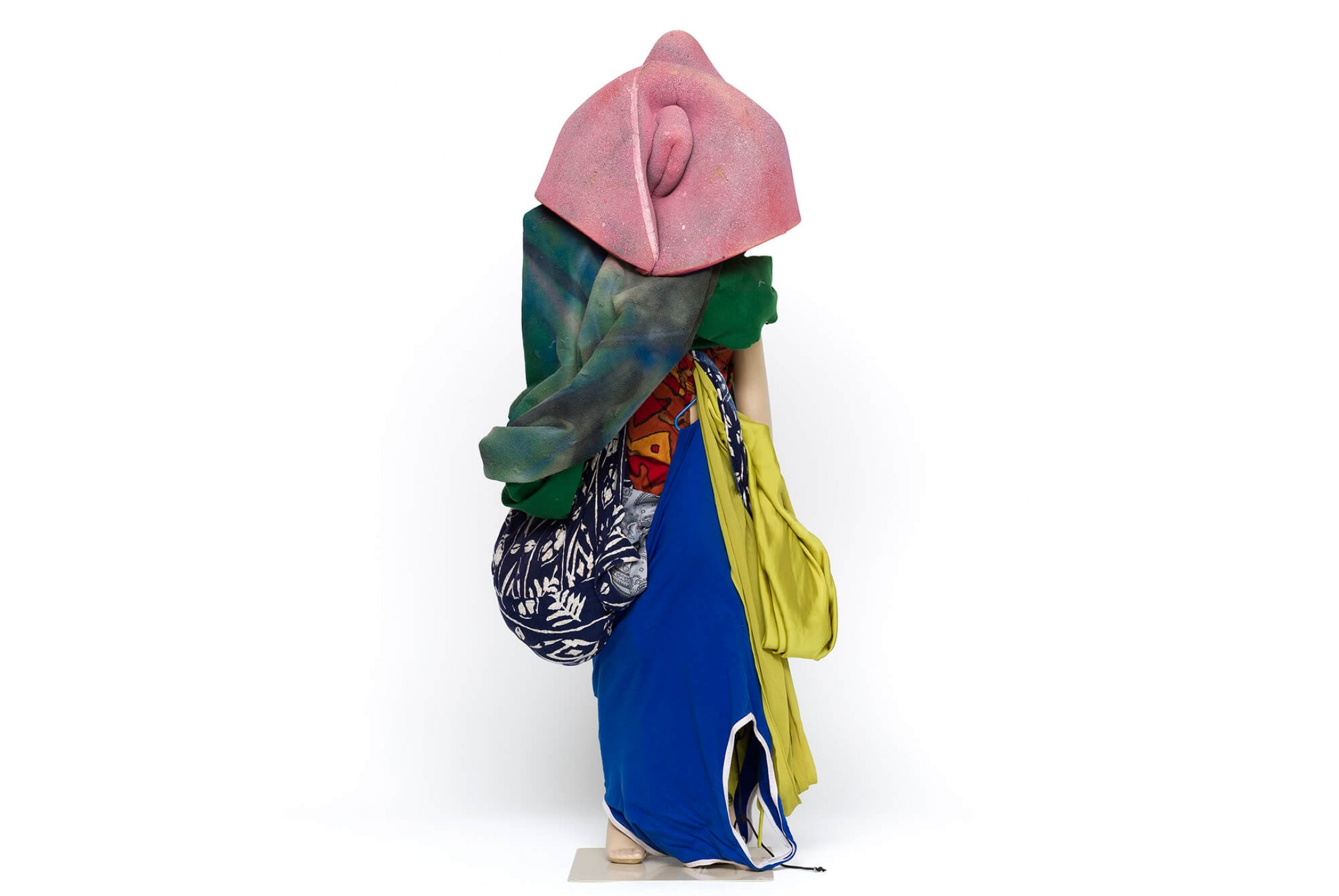 "Cibelle Cavalli Bastos, <em>""A"", Not ""I""</em>, 2016, spray painting, moulage in foam, acrylic resin, artists clothes and plastic dummy, 124 × 150 × 45 cm - Mendes Wood DM"