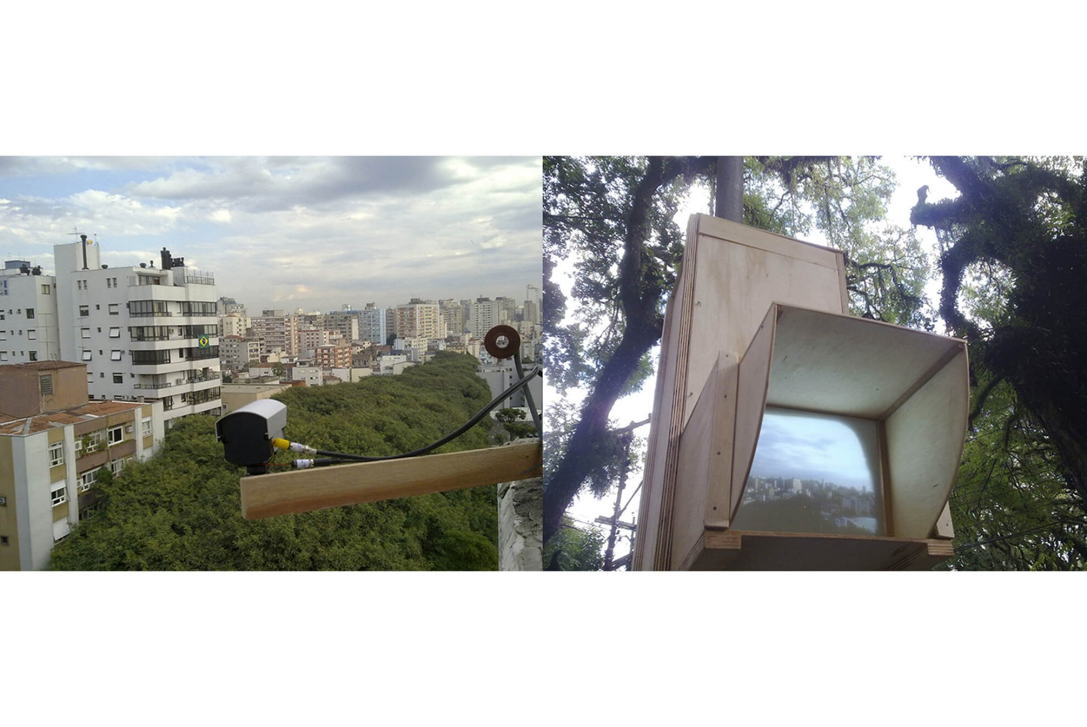 Leticia Ramos, <em>EIXO Z</em>, 2010, urban intervention – video installation, 150 × 50 × 50 cm - Mendes Wood DM