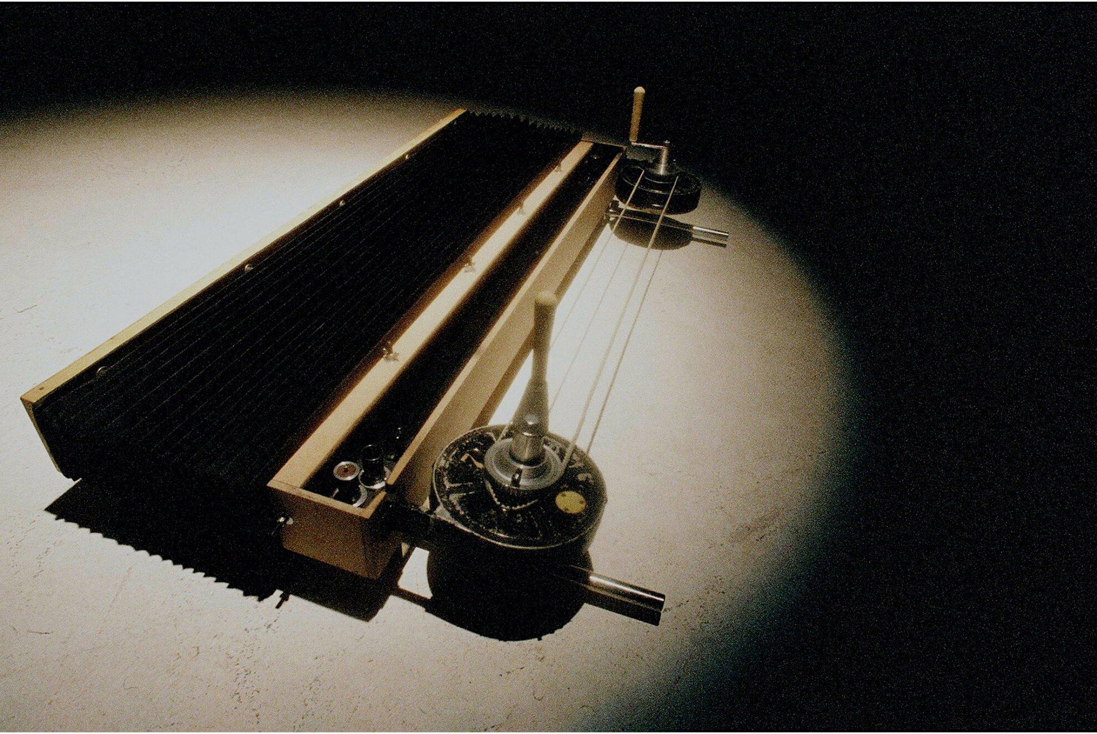 Leticia Ramos,<em>ERBF-Câmera Instantâneo Sequencial,</em> 2007, wood, metal and fabric, 130 × 150 × 30 cm - Mendes Wood DM
