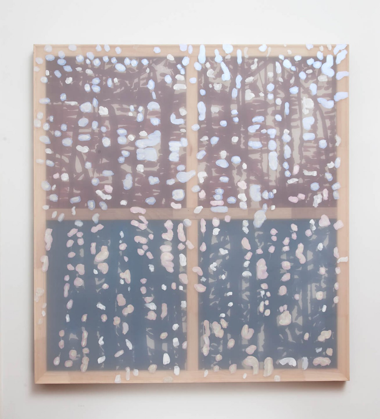 Marina Perez Simão, <em>Untitled,</em> 2012<em>, </em>acrylic and iridescent pigment on polyester and paper overlay, 74,4&nbsp;× 69,6 inches - Mendes Wood DM