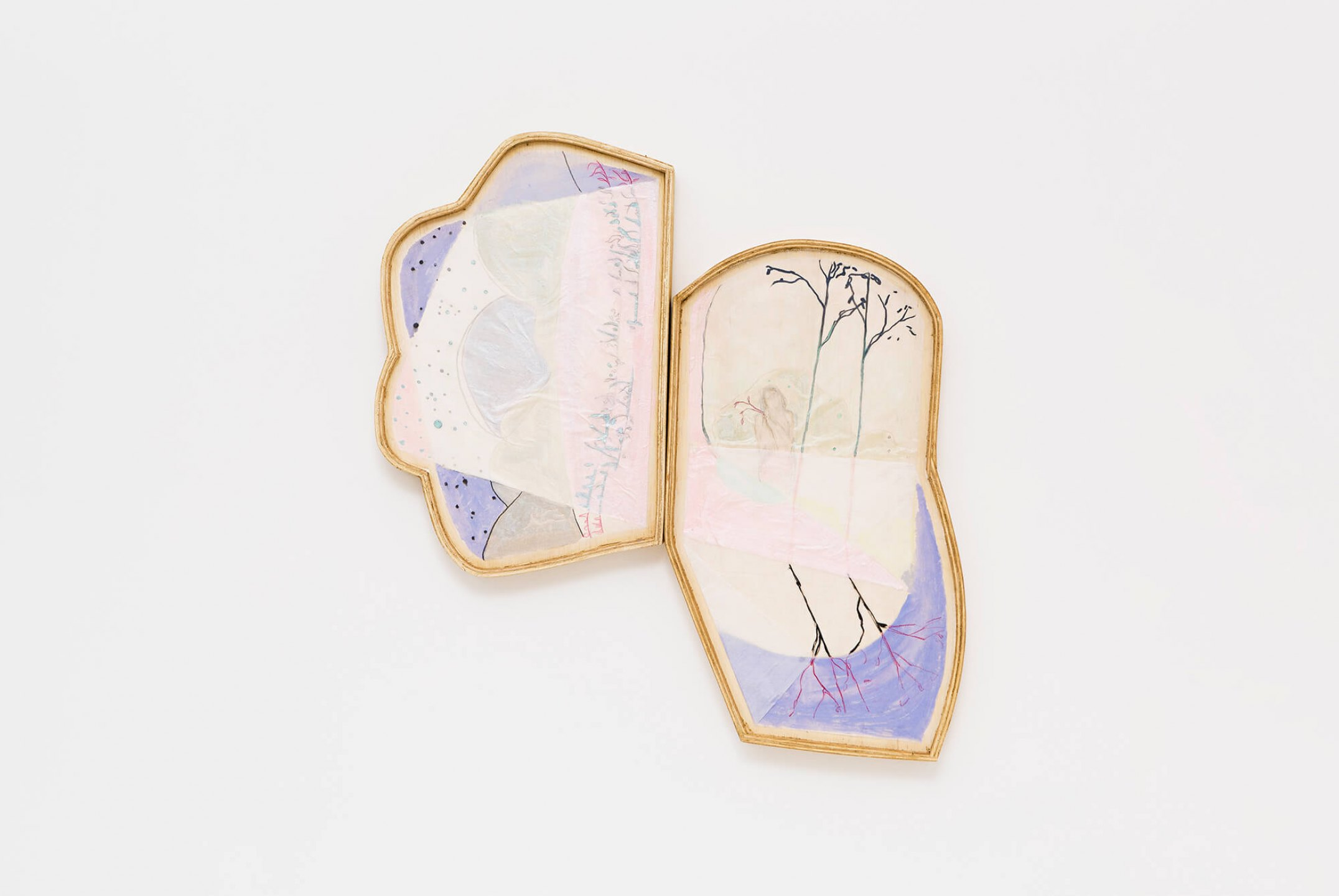 Marina Perez Simão, <em>Untitled,</em> 2015, pencil, acrylic, watercolor, iridescent pigment on korean paper folded and assembled on wood, 17 × 30 × 2 cm  - Mendes Wood DM