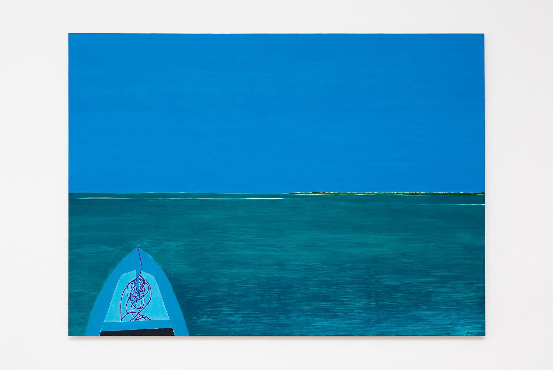 Patricia Leite, <em>Mr. Djalma's canoe, </em>2014, oil on wood, 160 × 220 cm - Mendes Wood DM