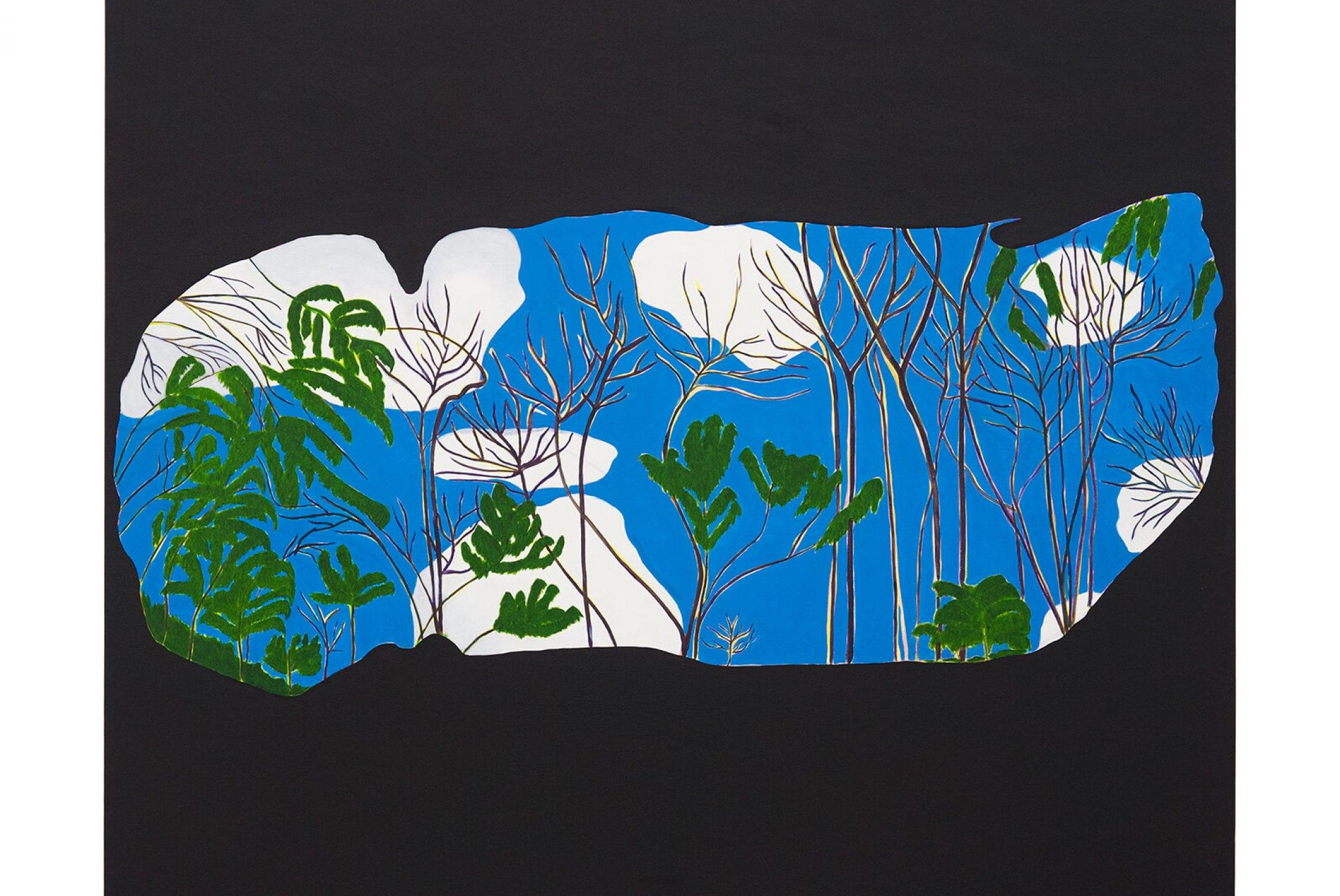 Patricia Leite, <em>Grotto,</em> 2014, oil on wood, 160×180 cm - Mendes Wood DM