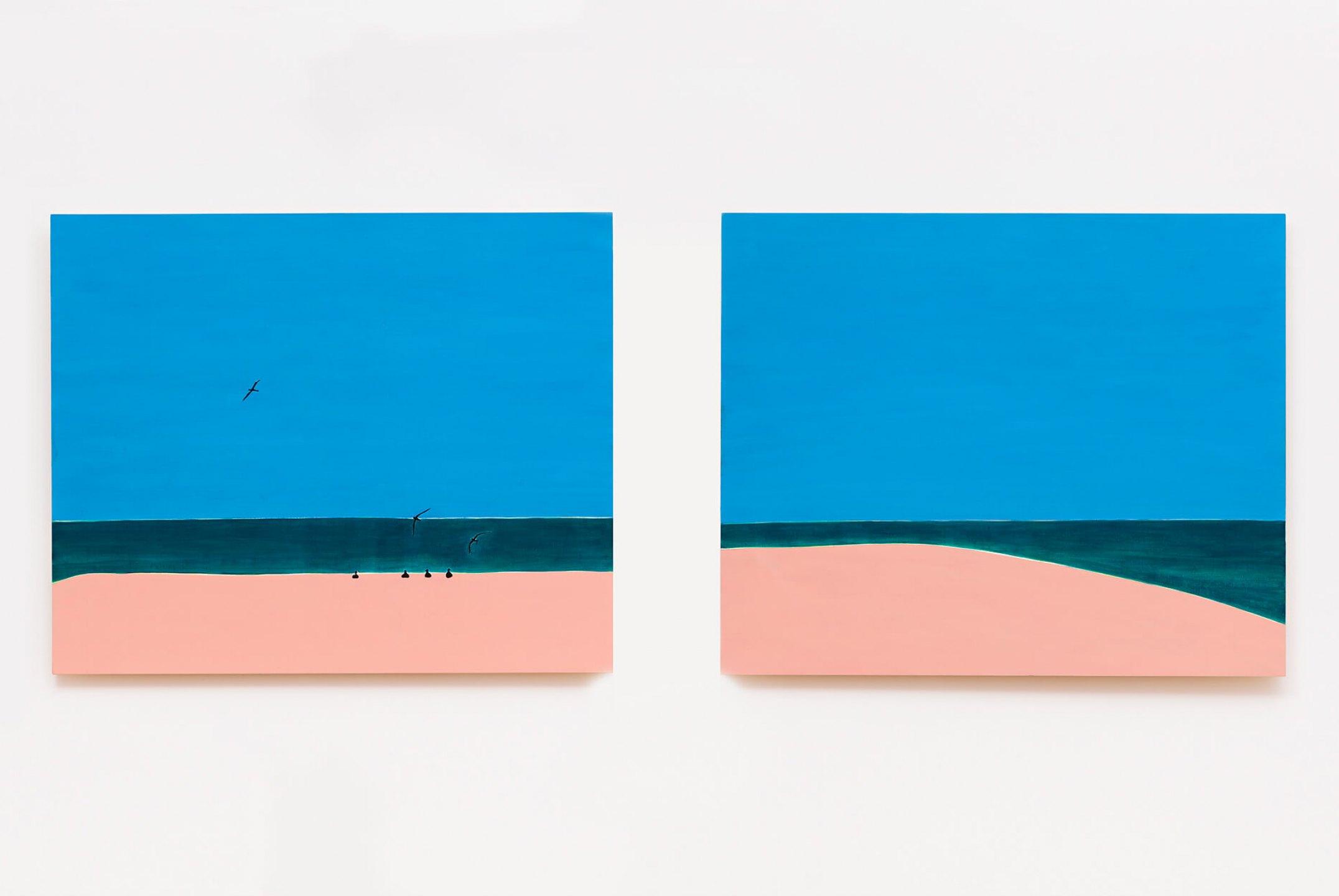 Patricia Leite, <em>Atol I / Atol II, </em>2014, oil on wood, 90×110 cm - Mendes Wood DM