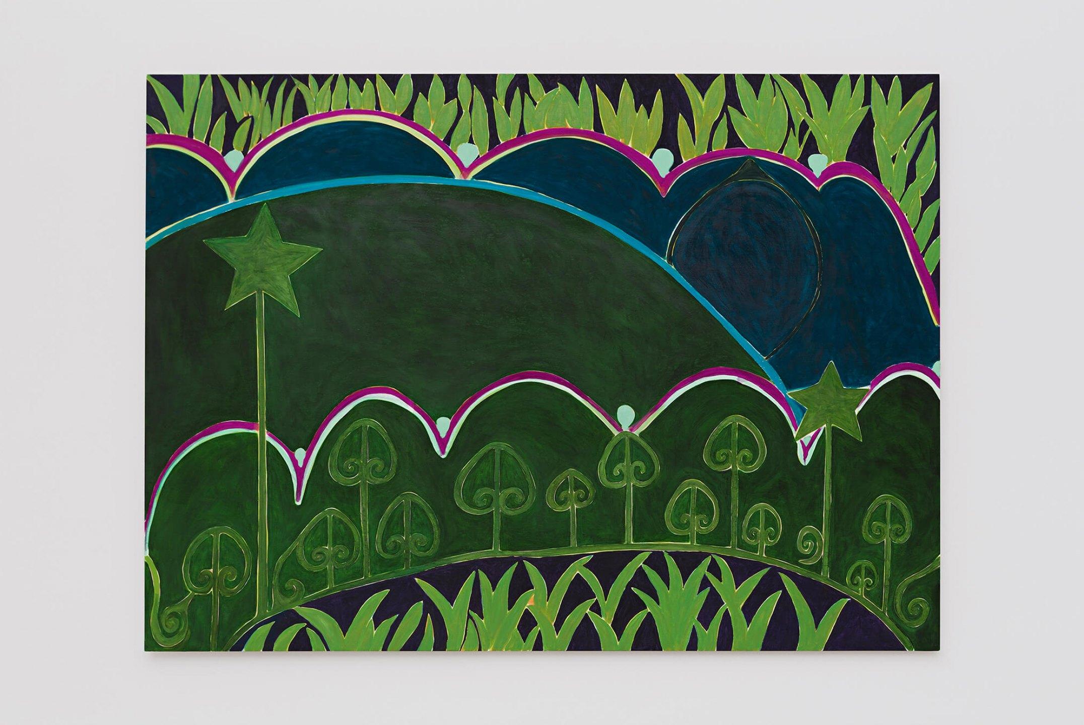Patricia Leite,<em>Alegoria I,</em>2015, oil on wood, 160×220 cm - Mendes Wood DM