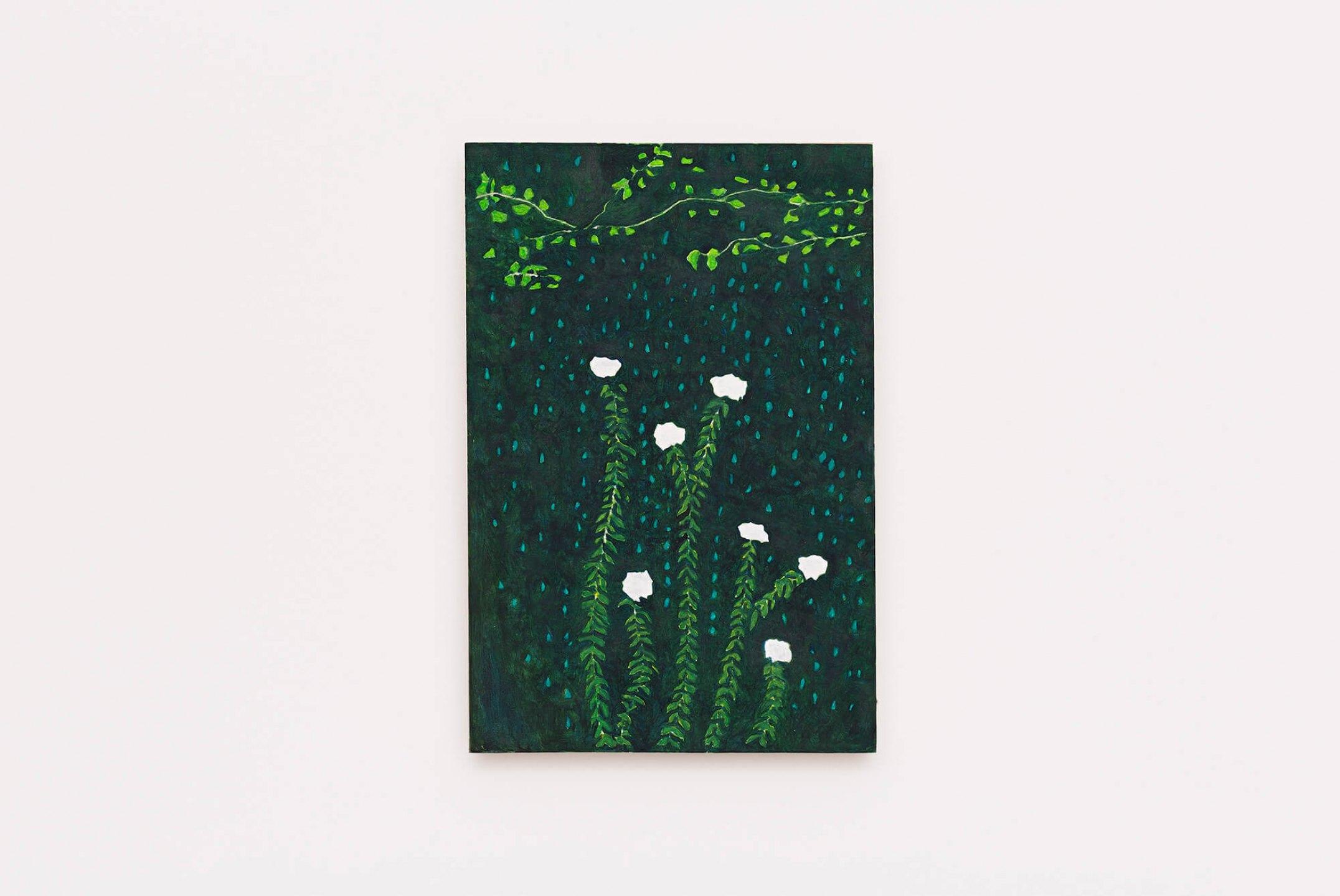 Patricia Leite, <em>Chovendo na roseira</em>, 2015, oil on canvas, 25×15 cm - Mendes Wood DM