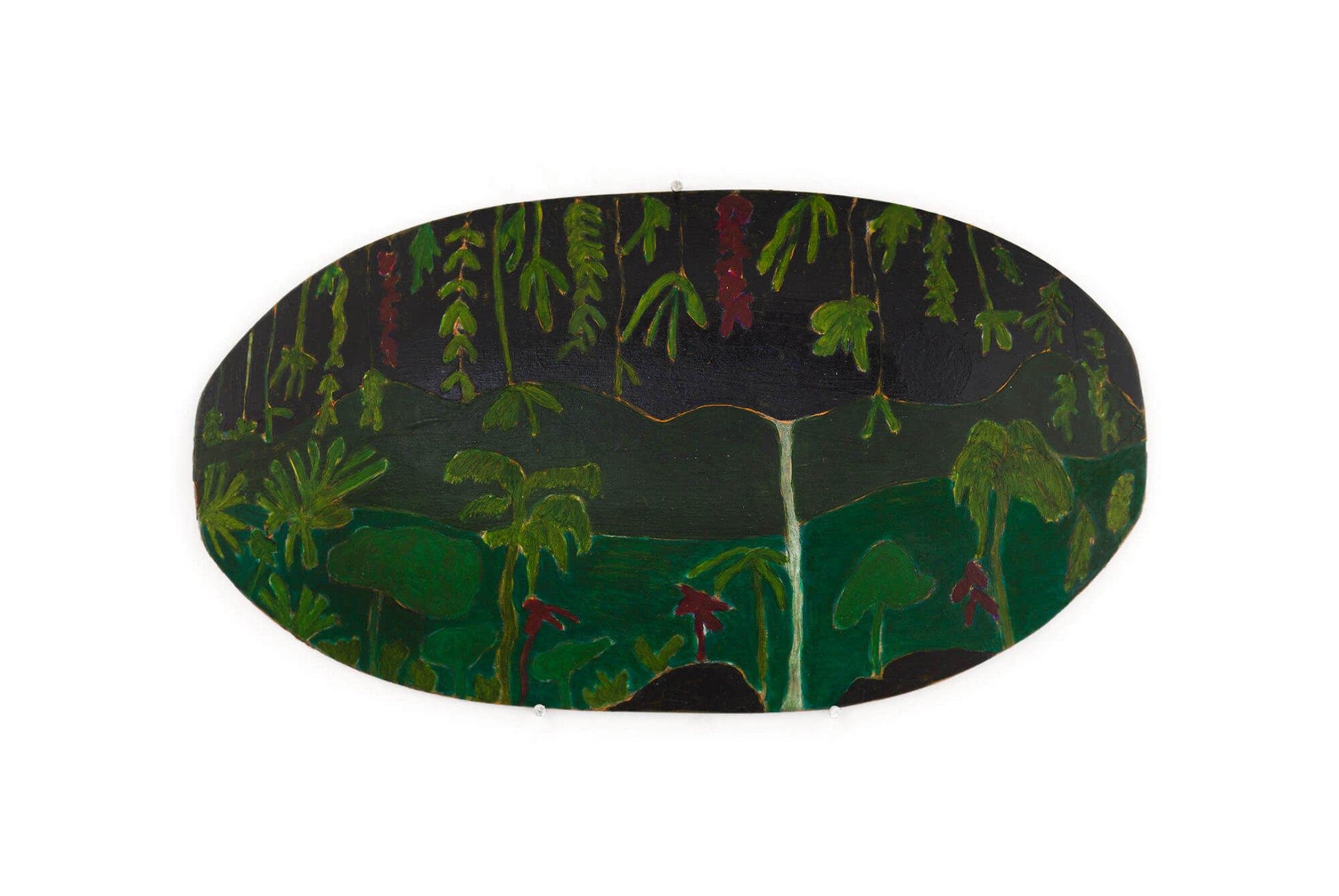 Patricia Leite,<em> era um rio doce</em>, 2016, oil on carved wooden platter, 14×26×3cm - Mendes Wood DM