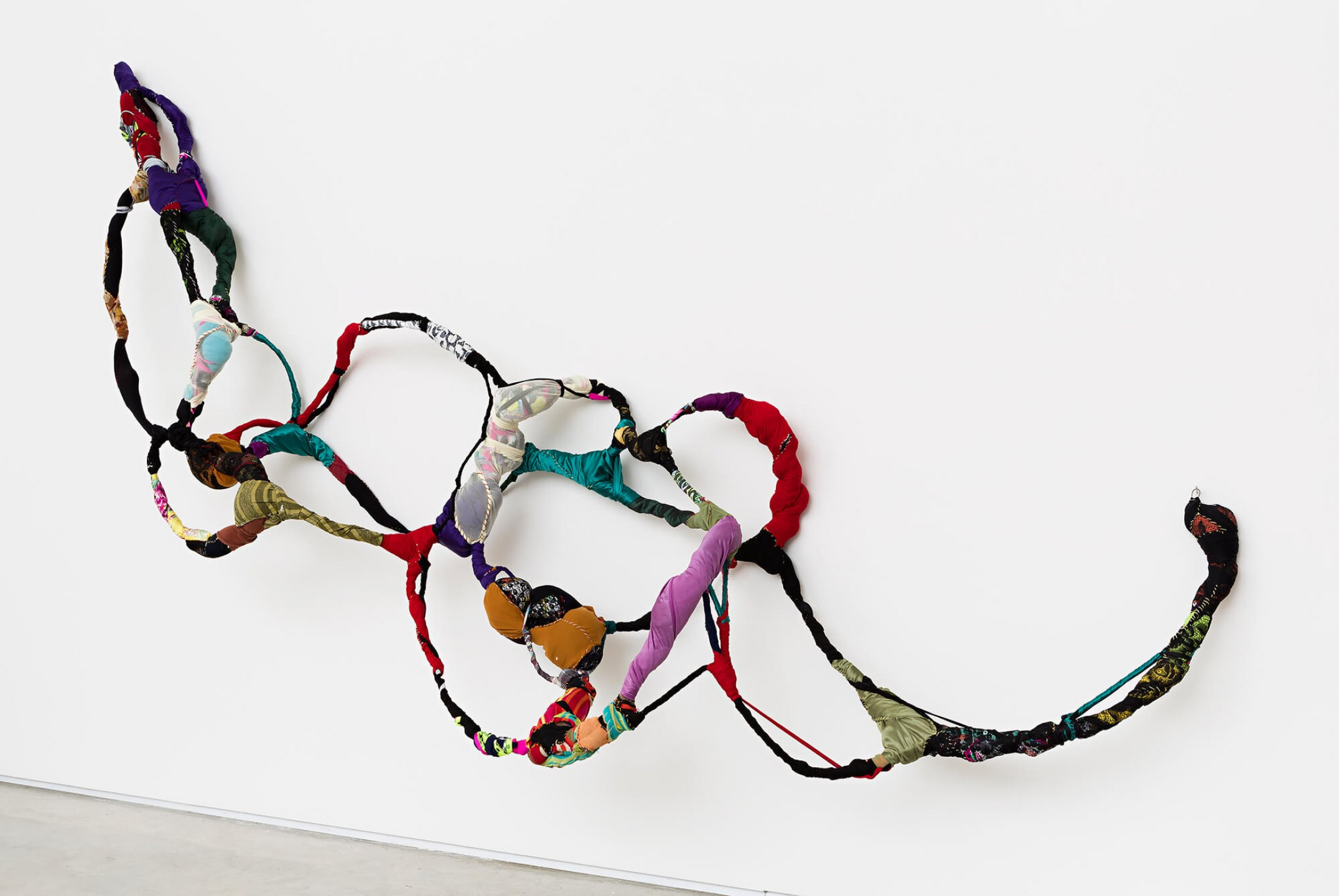 Sonia Gomes,<em>untitled, from Torção series</em>, 2015, sewing, moorings, different fabrics on wire, 430 × 120 × 50 cm - Mendes Wood DM