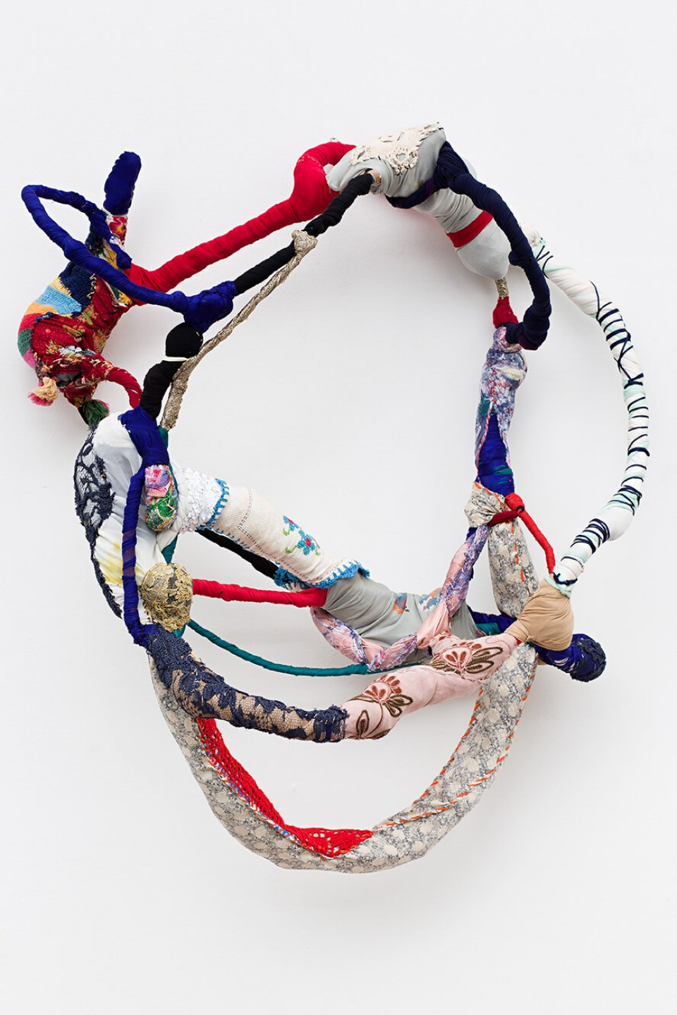 Sonia Gomes, <em>Trapézio, from Torção series</em>, 2014, sewing, binding, different fabric on wire, 90 × 75 × 40 cm - Mendes Wood DM