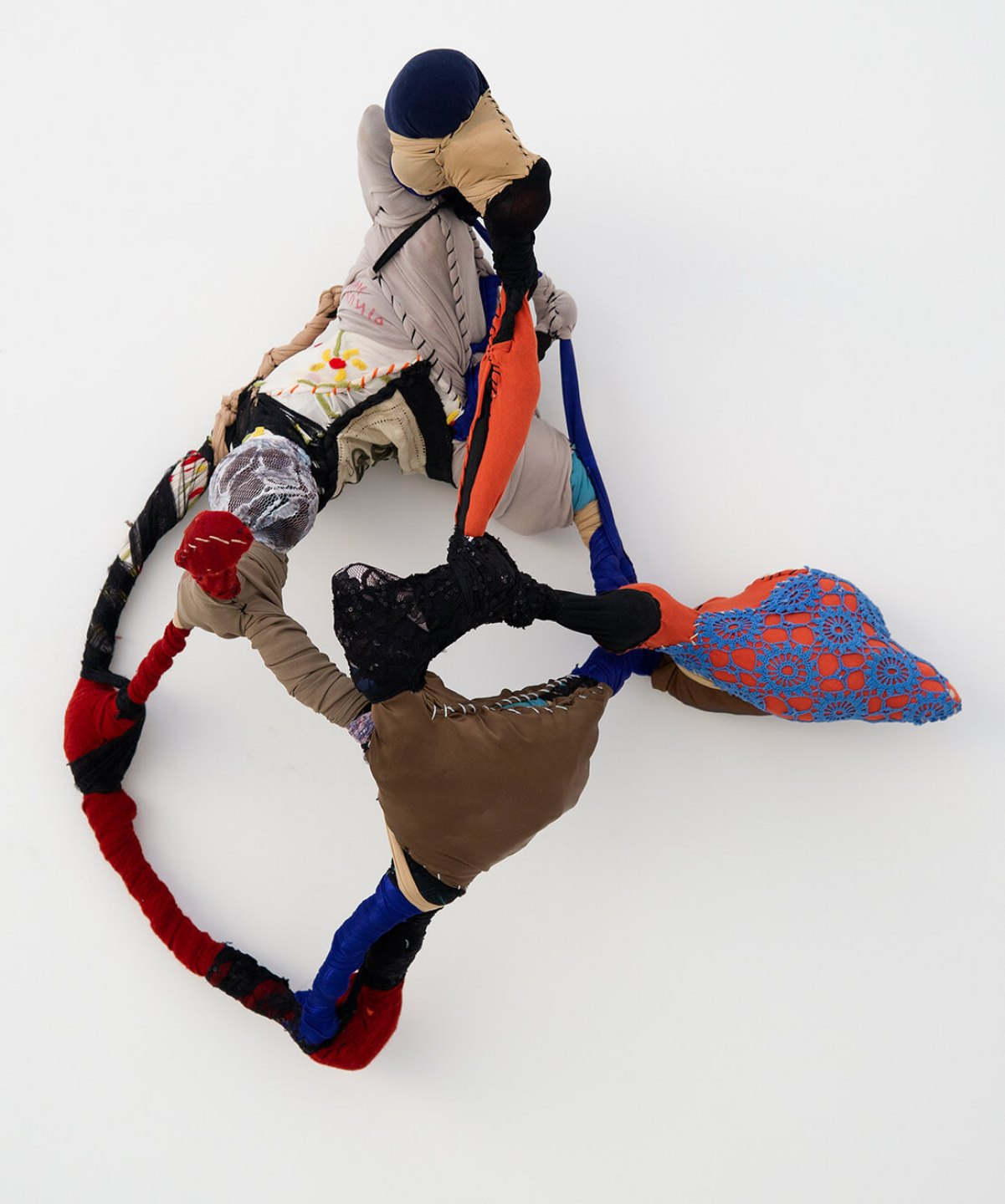 Sonia Gomes,<em>Afrânio</em>, 2014, stitching, moorings and different fabrics and laces on wire and steel, 45 × 90 × 30 cm - Mendes Wood DM