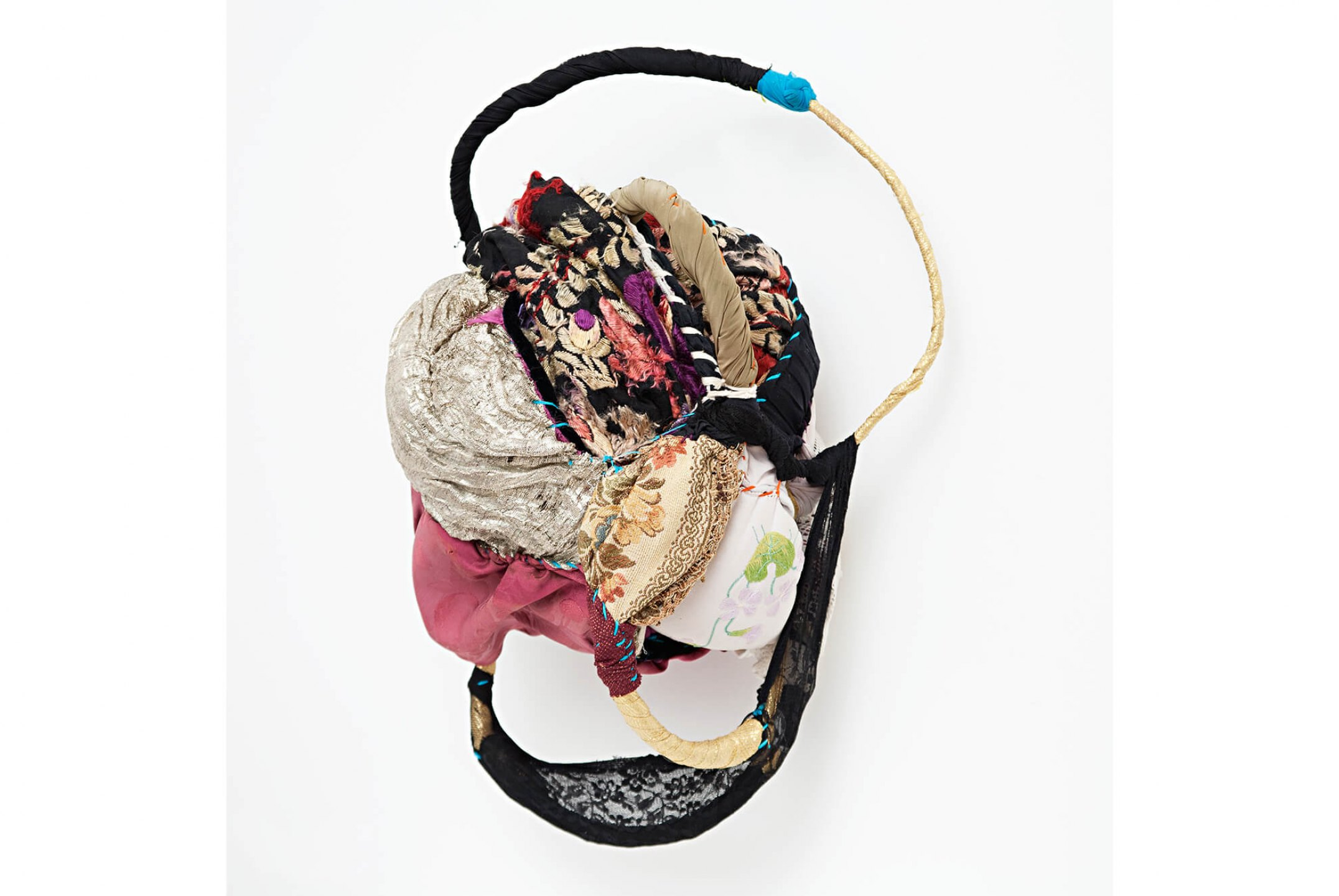 Sonia Gomes,<em>Memória</em>,2006, stitching, bindings, different fabrics and laces on wire, 50 × 36 × 23 cm - Mendes Wood DM