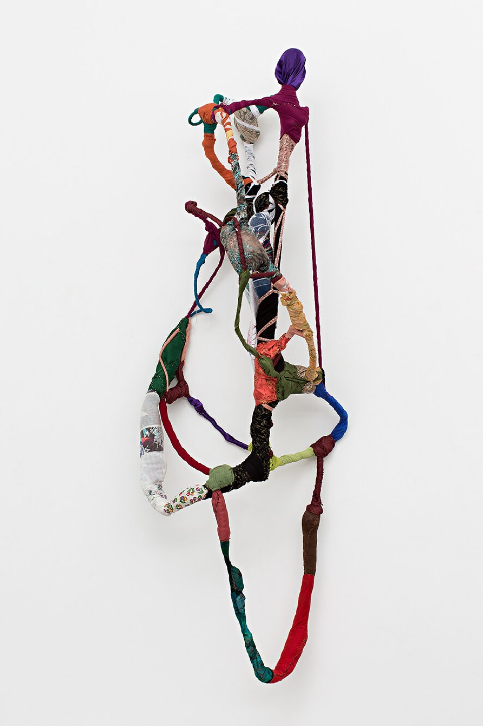 Sonia Gomes,<em>untitled, from Torção series</em>,2013, stitching, moorings, different fabrics and laces on wire, 180 × 65 × 60 cm - Mendes Wood DM