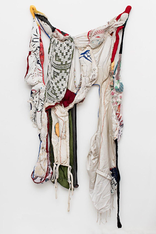 Sonia Gomes, <em>Tecidos Leves Atados em Força</em>, 2013, stitching, bindings, different fabrics and laces, 230 × 100 × 20 cm - Mendes Wood DM