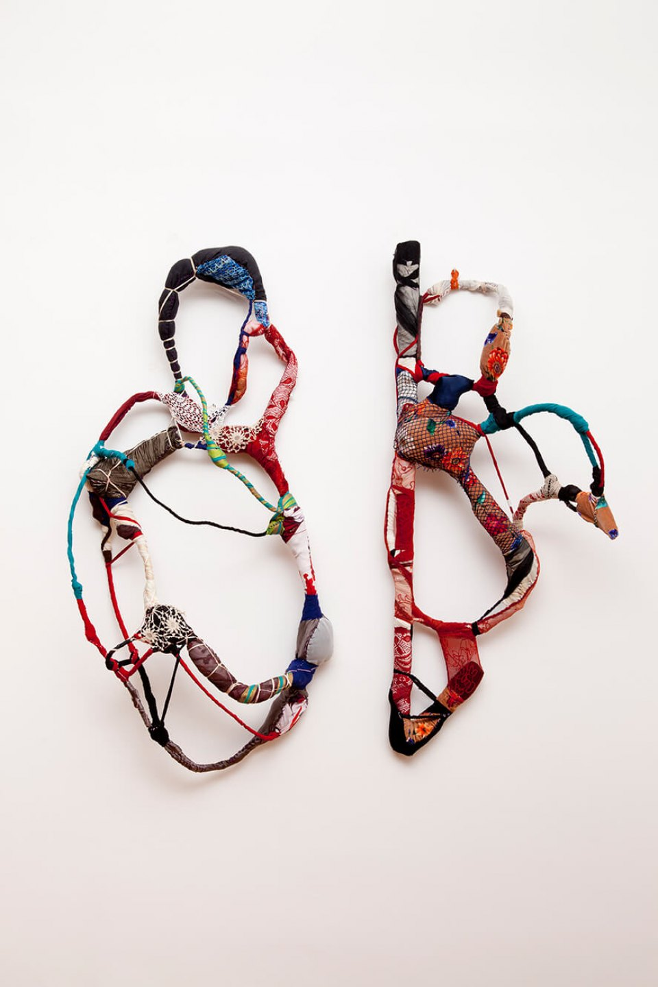 Sonia Gomes,<em>untitled, from Torção series</em>,2012, stitching, bindings, different fabrics and laces on wire, 125×130×28 cm - Mendes Wood DM