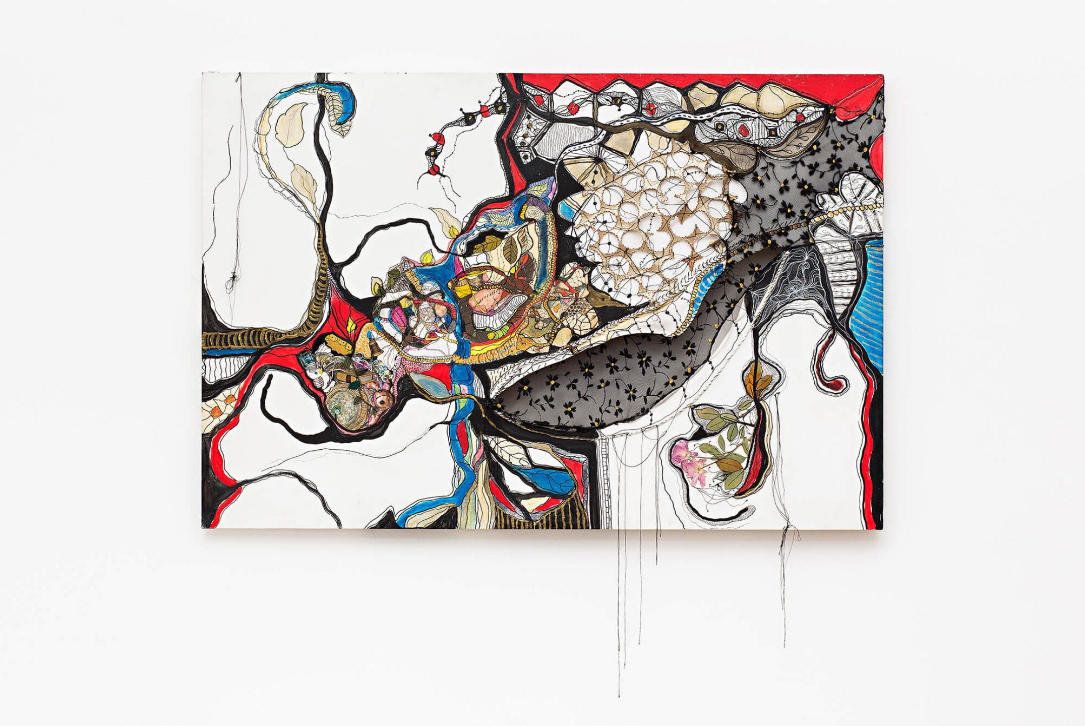Sonia Gomes, <em>Por Que?</em>, 2009/2010, mixed media, acrylic, watercolor, china ink, thread and fabric on canvas, 80 × 120 cm - Mendes Wood DM