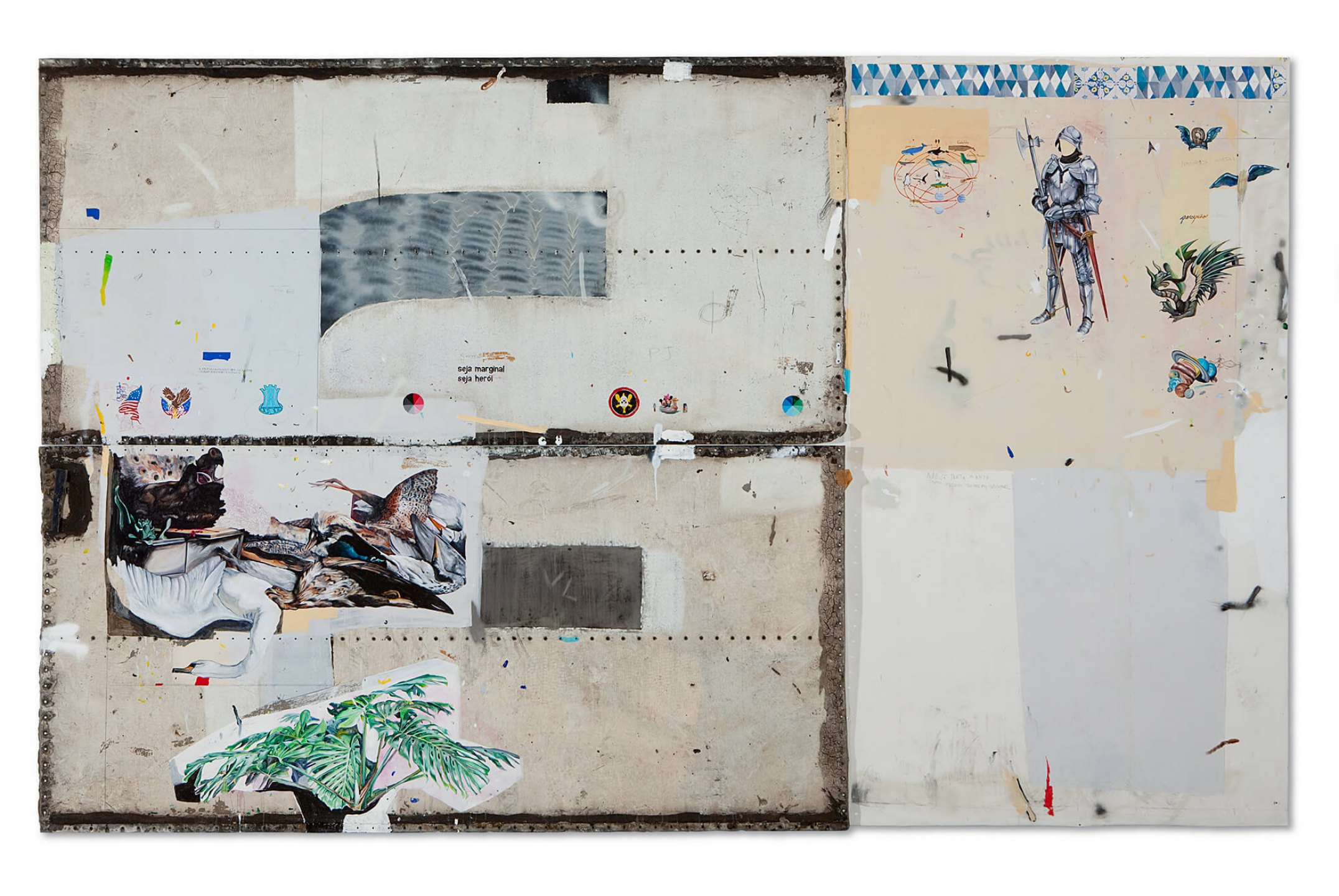 Paulo Nimer Pjota,&nbsp;<em>Dialogo entre Arranjos, </em>Constelações e Tempo 1, 2013,&nbsp;acrilic, synthetic enamel, pencil and pen on canvas and iron plate,&nbsp;246 x 400 cm (triptych - 123 x 259 cm each metal plate, 246 x 141 cm canvas) - Mendes Wood DM