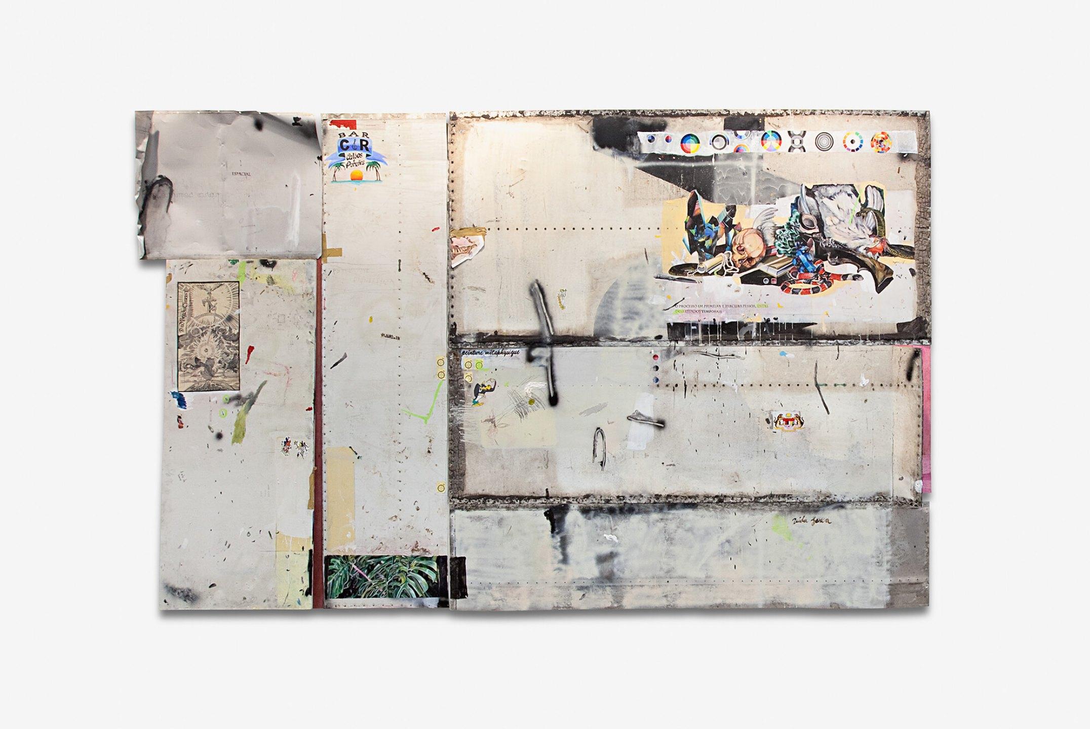 Paulo Nimer Pjota,<em>Estado Atemporal, Relação Primeira e Terceira Pessoa, 2013,</em>acrilic, synthetic enamel, pencil and pen on wood and iron plate,260 × 404 × 12 cm ( polyptic - up to down - 77 × 98 cm, 180 × 80 cm, 258 × 67 cm, 122 × 257 cm, 82 × 252 cm, 56 × 257 cm each) - Mendes Wood DM
