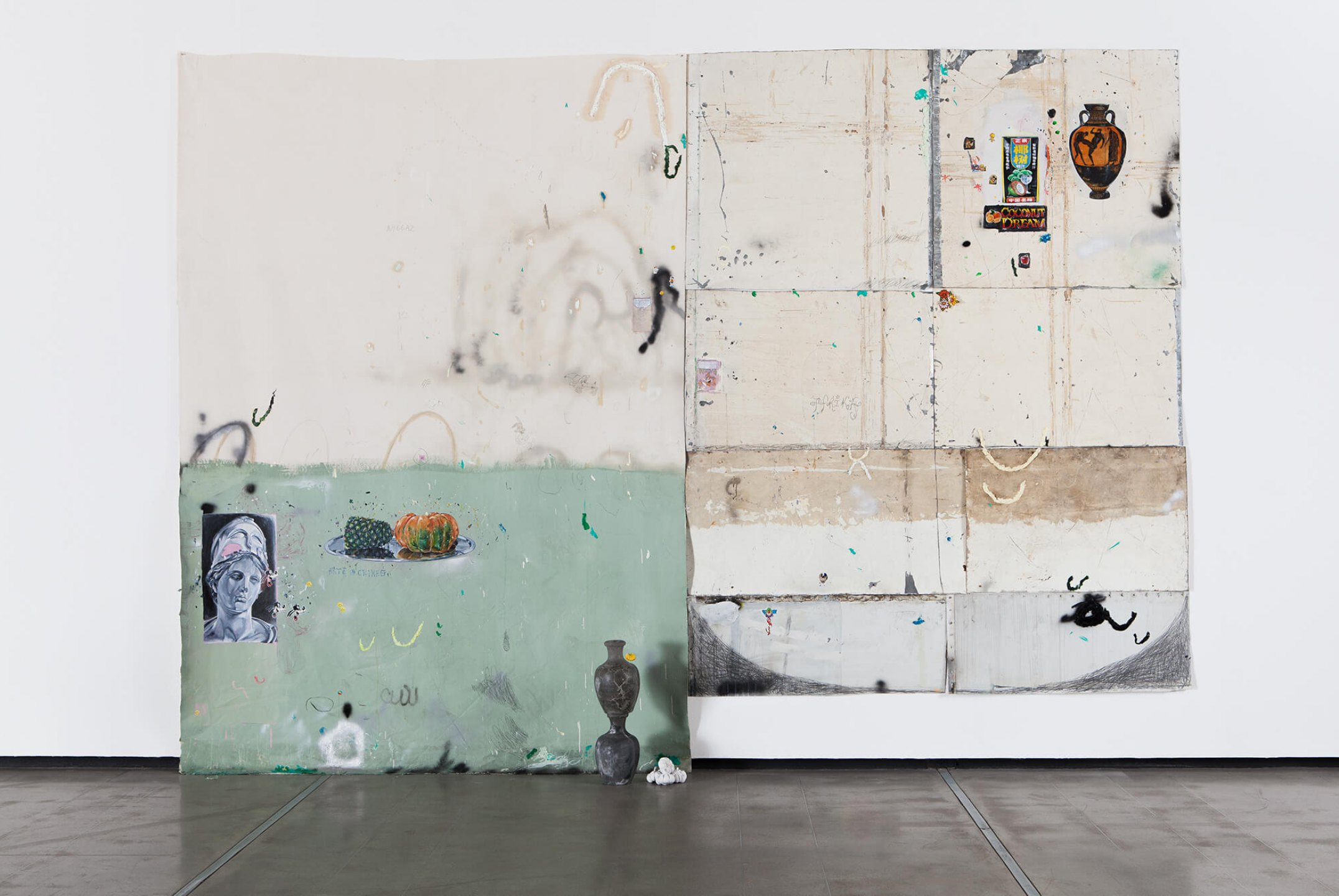 Paulo Nimer Pjota, <em>Entre a filosofia e o crime, part. II</em>, 2015, acrylic, oil, pen, pencil on iron plate, cotton, paper and concrete, 300 × 420 cm - Mendes Wood DM