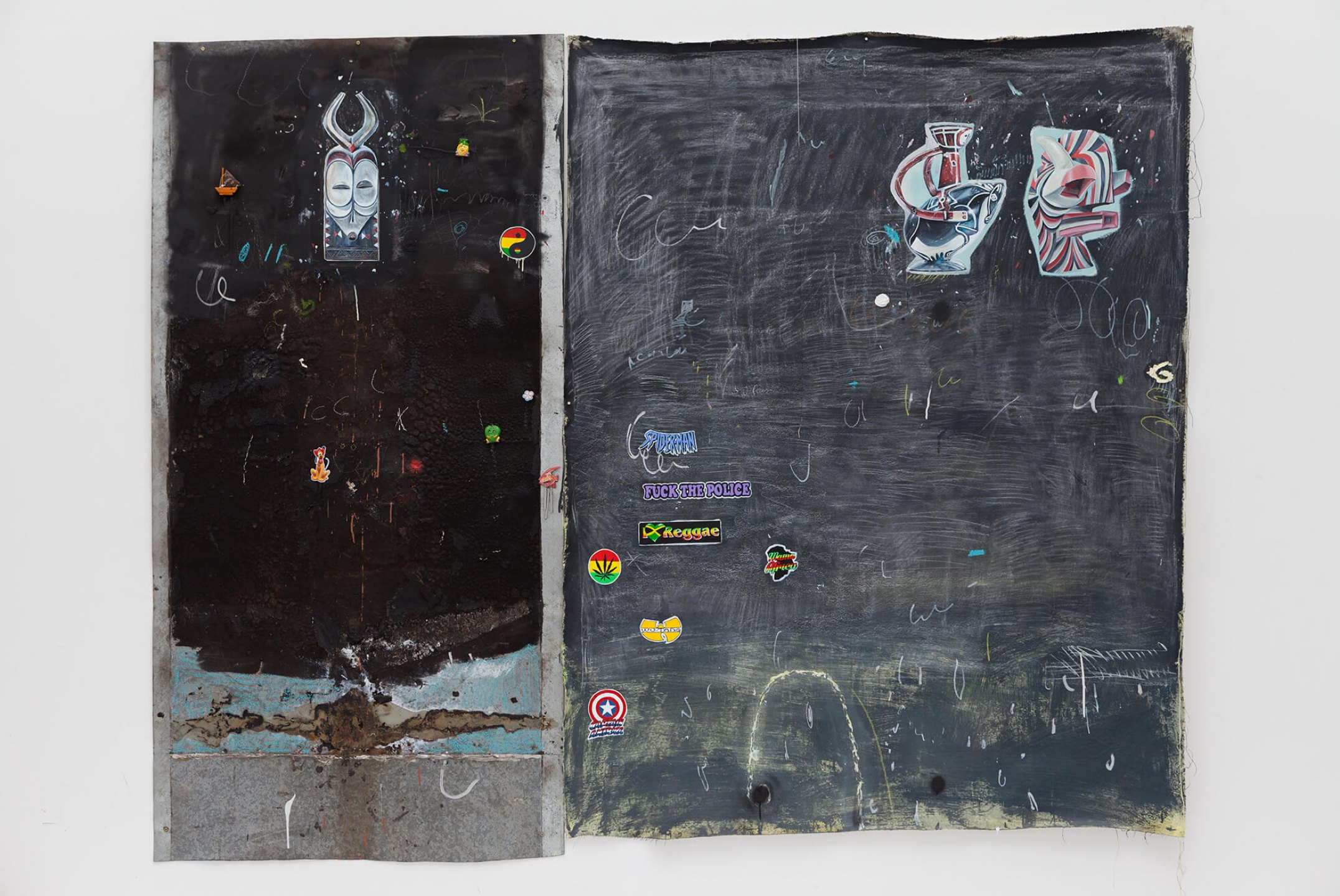 Paulo Nimer Pjota, <em>Wardrobe door</em>, 2016, acrylic, pencil and pen on canvas and iron plate, 255 × 200 cm - Mendes Wood DM