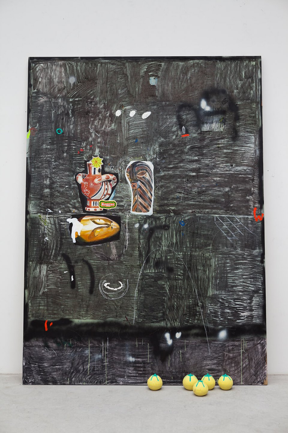 Paulo Nimer Pjota, <em>Democratic Republic of the Congo part. I,</em> 2015, acrylic, oil, pencil, pen, charcoal and pastel on wood, and ceramic objects, 218 × 160 × 43 cm - Mendes Wood DM