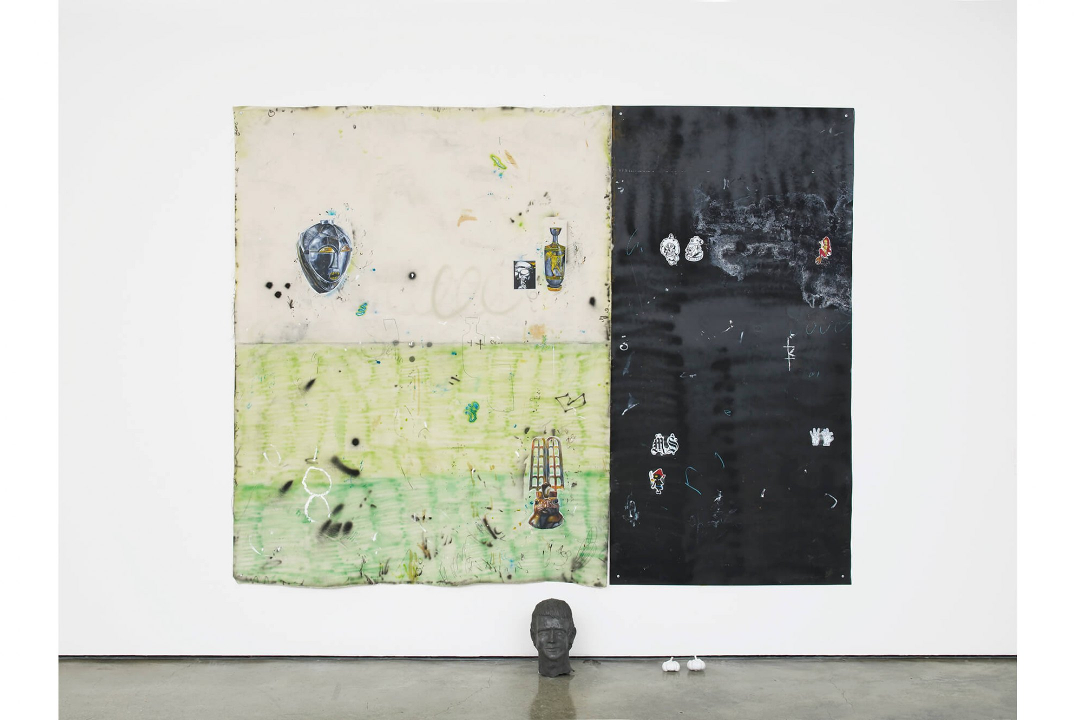 Paulo Nimer Pjota, <em>Between philosophy and crime, part. 3,</em> 2016, acrylic, pencil and pen on canvas and iron plate, 255 × 200 cm - Mendes Wood DM