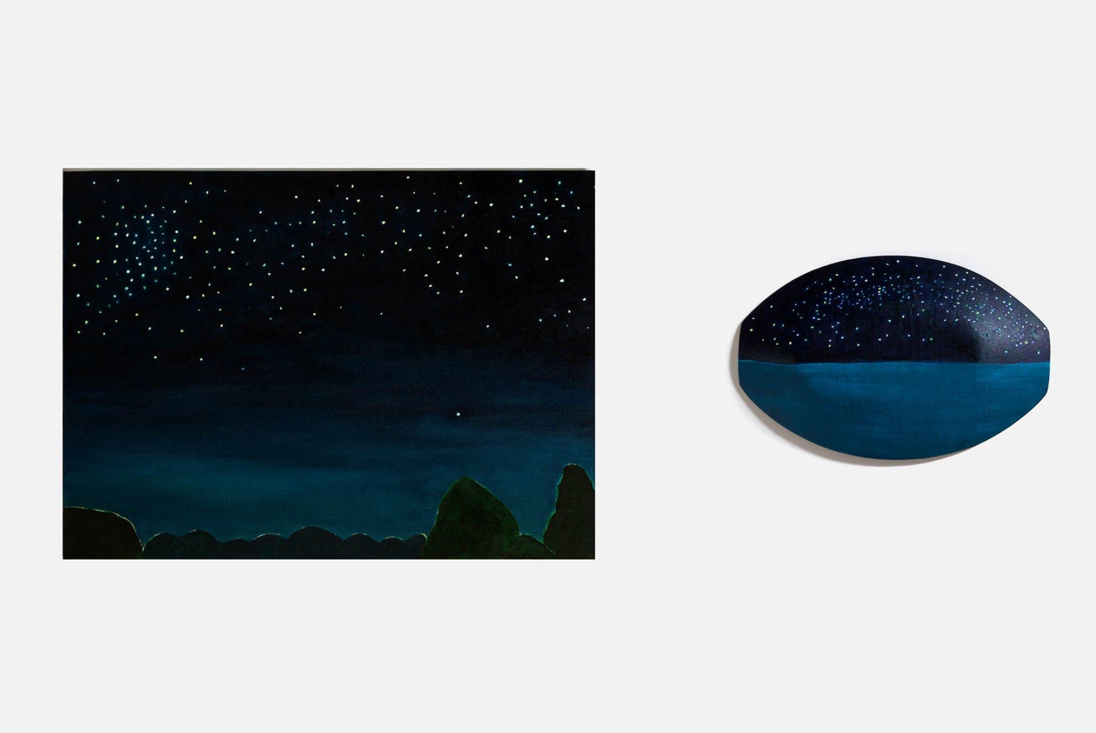 Patricia Leite,<em>Vênus e barco</em>, 2013, oil on wood and oil on canvas, 16×25 cm - Mendes Wood DM