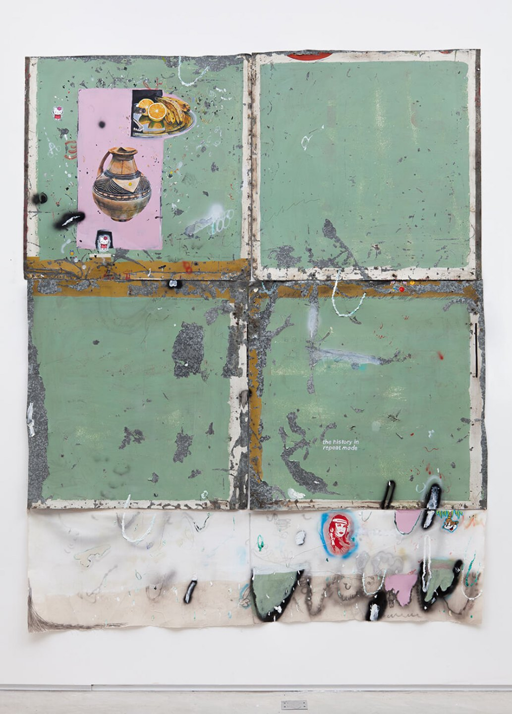 Paulo Nimer Pjota, <em>ETHOS Cruzados</em>, 2015, acrylic, oil, pen, pencil on iron plate, cotton, paper and concrete, 250 × 200 cm - Mendes Wood DM