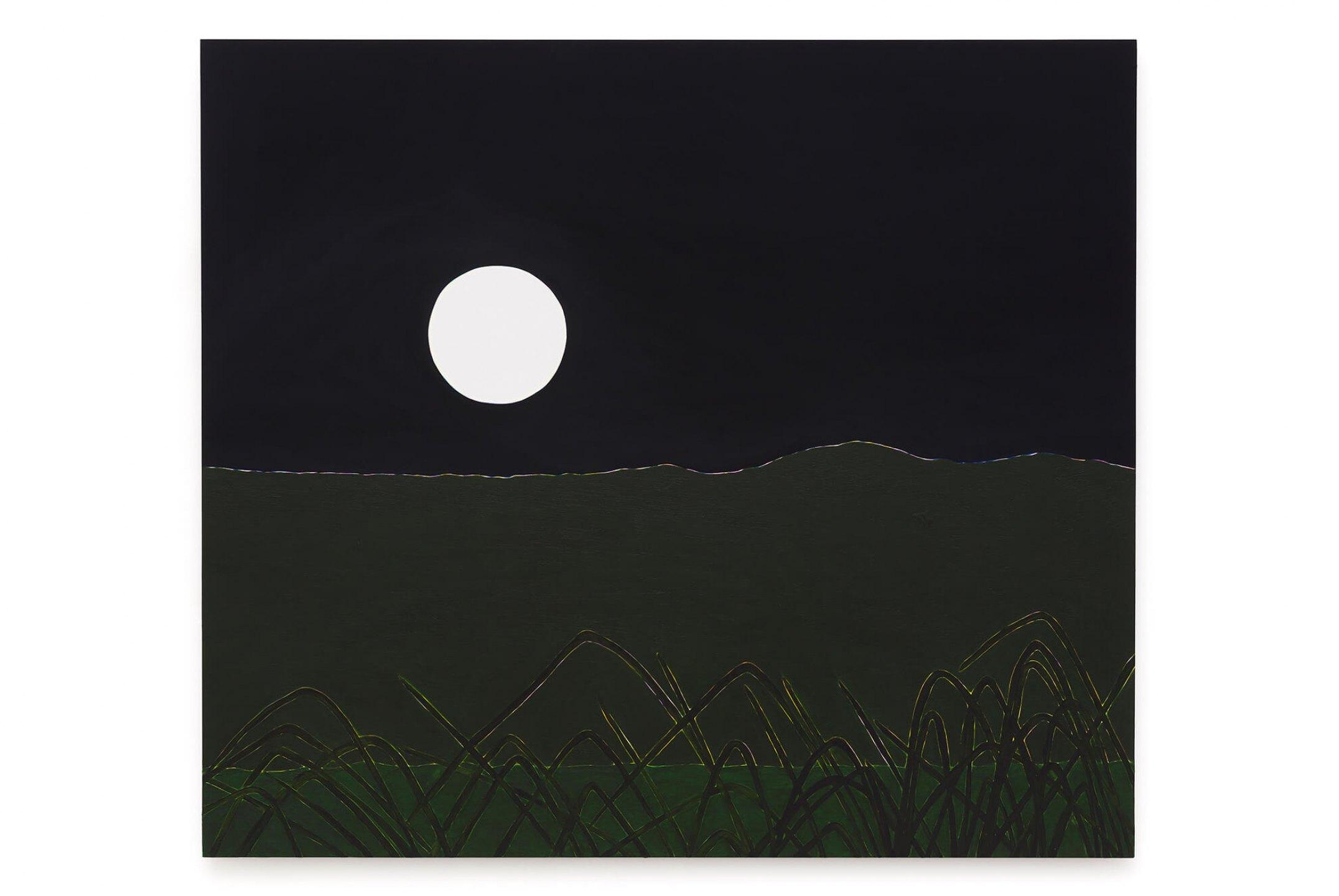 Patricia Leite, <em>Super Lua com Citronelas</em>, 2016, oil on wood, 130×160 cm - Mendes Wood DM