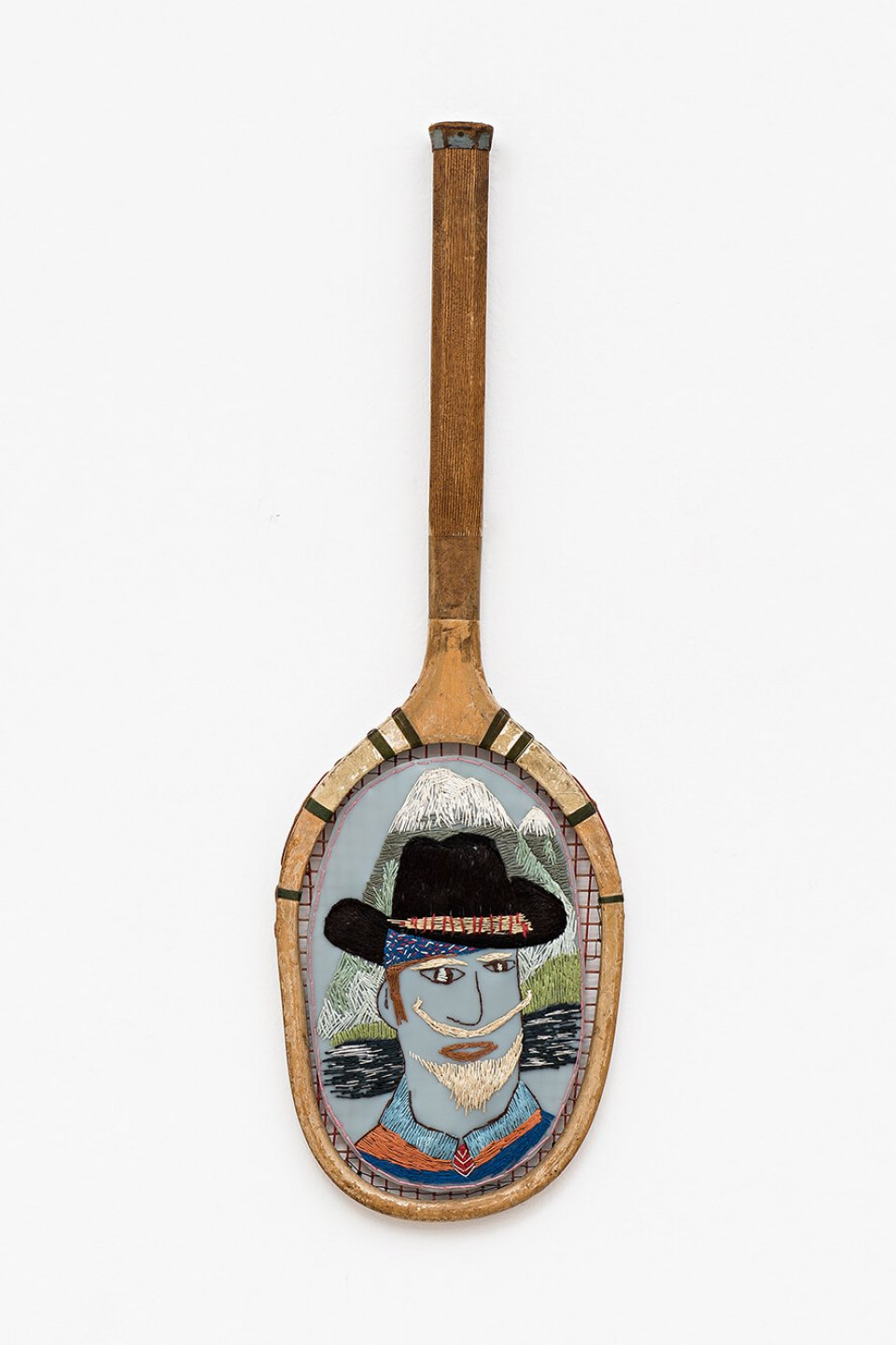 f. marquespeteado, <em>Billy the Kid,</em> 2004, PVC hand-embroidered on tennis racquet, 68,5 × 22 cm - Mendes Wood DM