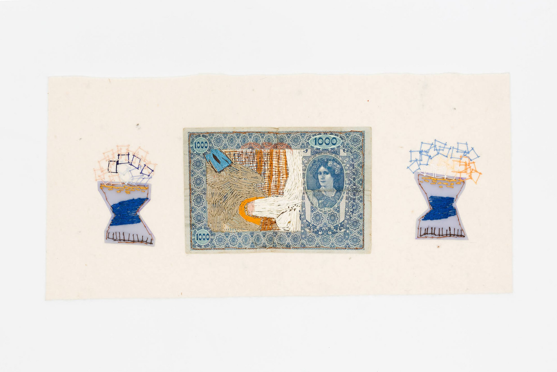 f. marquespeteado, <em>Mil boquetes 01, from Wedgwood erótica series, </em>2008/2009, old banknote hand embroidery with linen thread on industrial felt, 22 × 48 cm - Mendes Wood DM