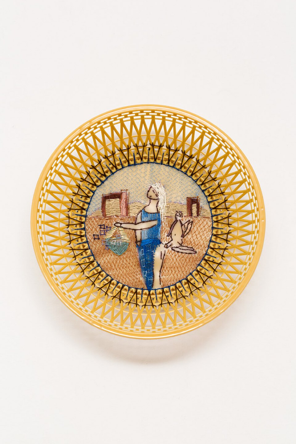 f.marquespeteado, <em>Ninfa e anjo safado, from Wedgwood erótica series, </em>2009, plastic basket, hand and machine embroidery PVC, 7,5 × 24 cm ø - Mendes Wood DM