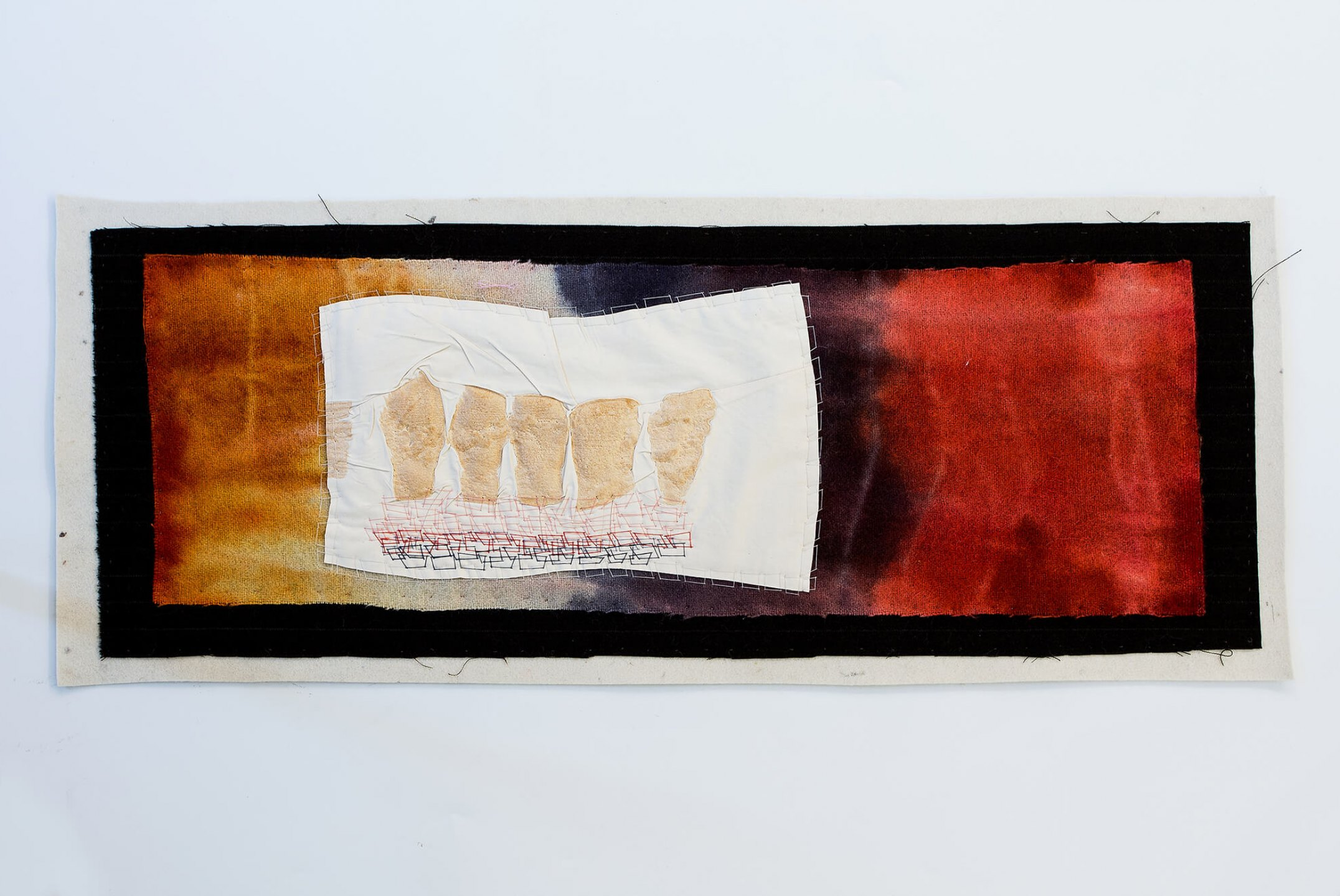 f.marquespeteado, <em>Vozes 01,</em> 2011, print on cotton hand-embroidered on industrial felt, 38 × 79 cm - Mendes Wood DM