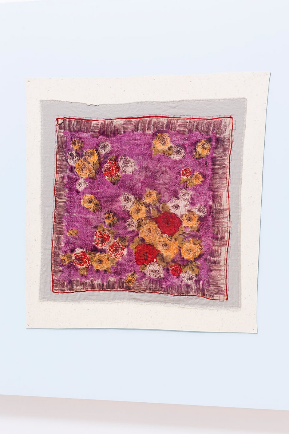 f.marquespeteado, <em>Bouquet Violeta, from Florais Rajados series</em>, 2014, composition including printed acetate, hand and machine embroidery on industrial felt, 90 × 90 cm - Mendes Wood DM