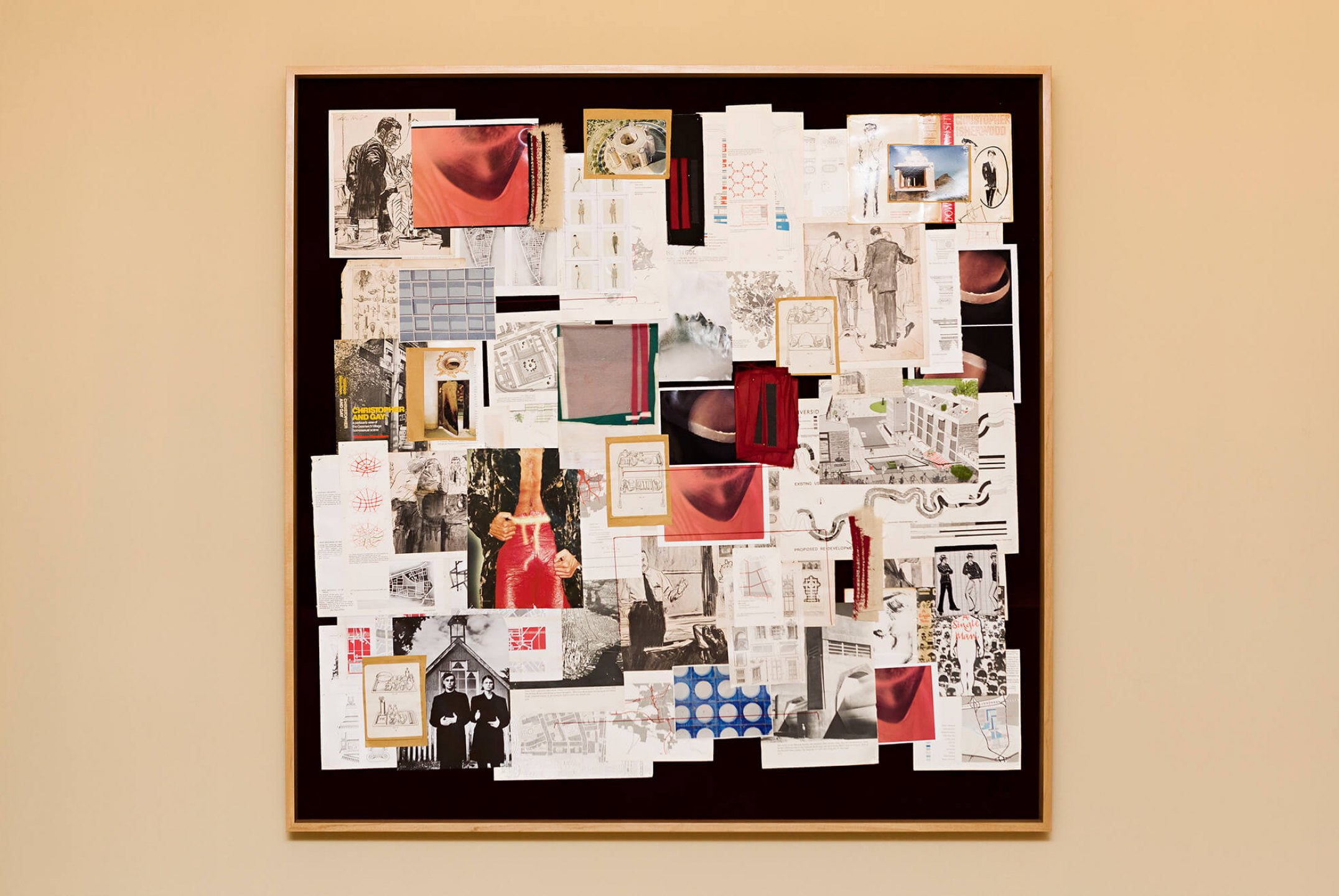 f.marquespeteado, <em>Storyboard Javier,</em> 2002/2014, print on paper and fabric, graphite on paper, photographs, newspaper and files on flocked foam framed, 143 × 142 × 8 cm - Mendes Wood DM