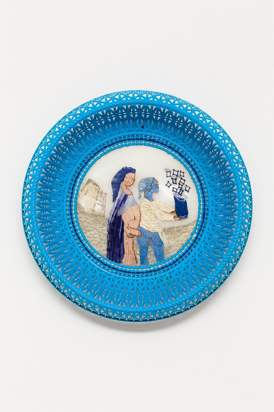 f.marquespeteado, <em>Boquete mediterrâneo, from Wedgwood erótica series,</em> 2009, plastic basket, hand and machine embroidery PVC, 6 × 27 cm ø - Mendes Wood DM