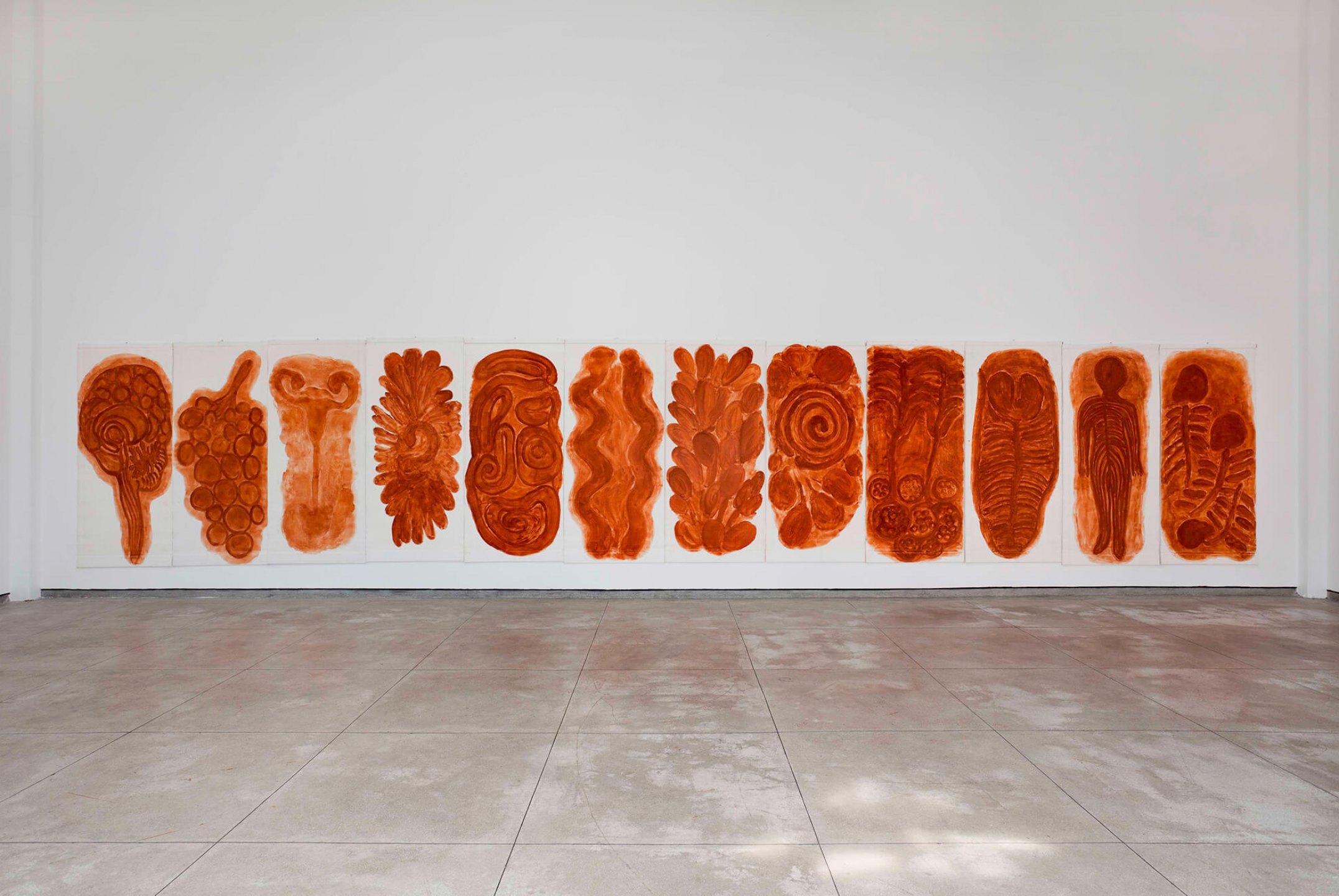 Solange Pessoa,&nbsp;<em>untitled</em>, 2011/2012, 12 paintings of&nbsp;clay on fabric, variable dimensions - Mendes Wood DM