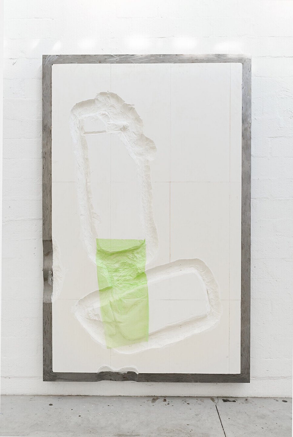 Neïl Beloufa, <em>Green lighters, from Failed vintage attempt series</em>, 2014, MDF and metal, 330 × 210 × 13 cm - Mendes Wood DM
