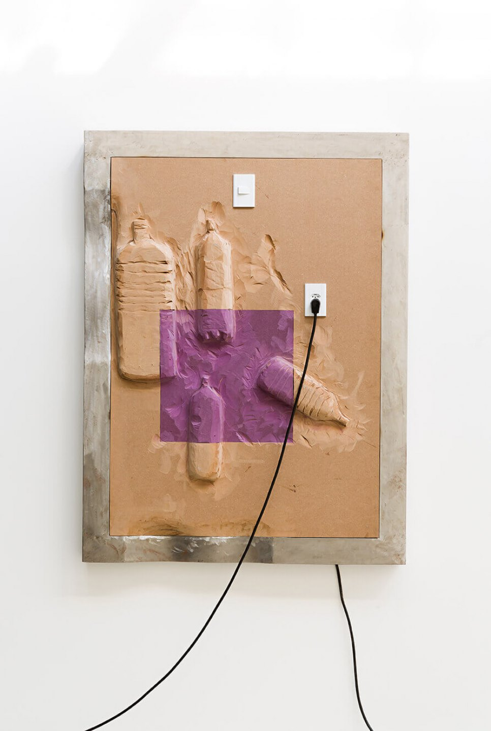 Neïl Beloufa, <em>Four big bottles, from Vintage series</em>, 2014, MDF and metal, 160 × 120 × 10 cm - Mendes Wood DM