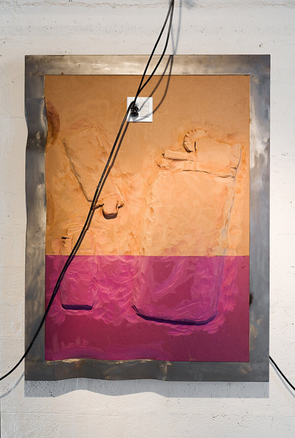 Neïl Beloufa, <em>Two big hair dryer, from Vintage series,</em> 2014, MDF and metal, 160 × 120 × 10 cm - Mendes Wood DM