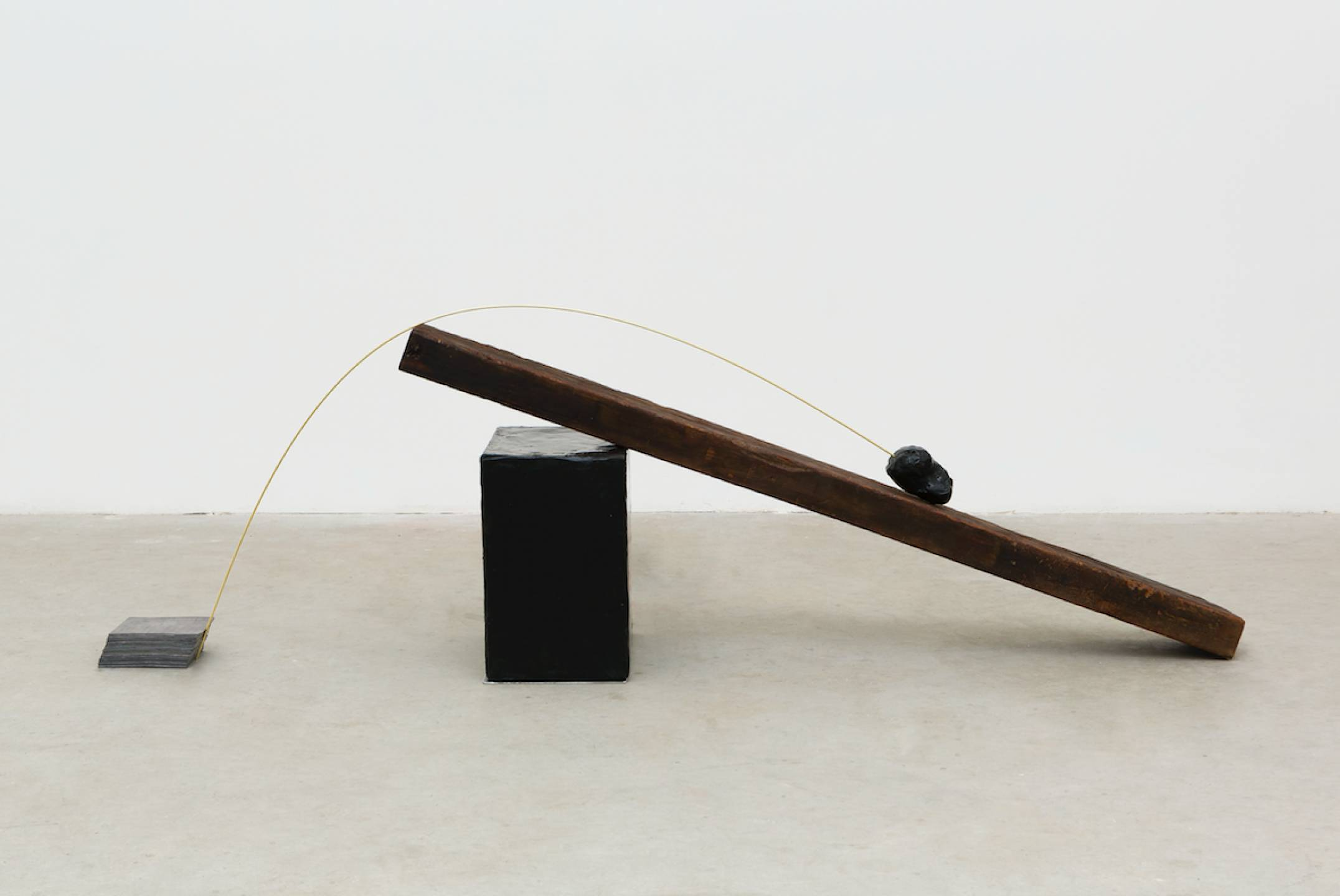 Paloma Bosquê, <em>Trampolim,</em> 2017, wax block and resin, lead sheet, wood, brass rod and wax stone and resin, 53 × 166 × 32,5 cm - Mendes Wood DM